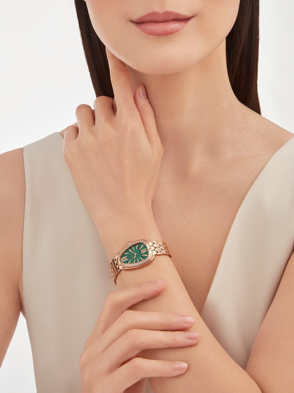 Montre SerpentiSeduttori avec boîtier et bracelet en or rose 18K, lunette en or rose 18K sertie de diamants et cadran en malachite 103273 image 1