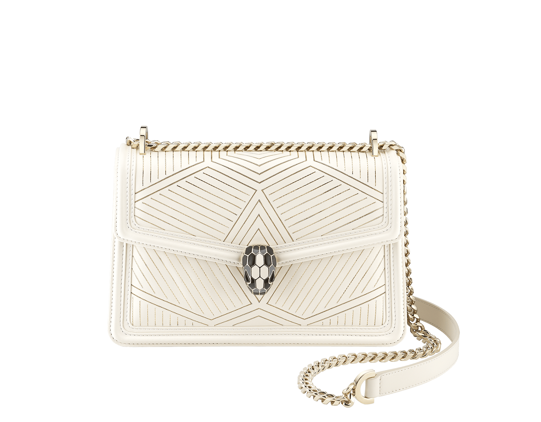 """Serpenti Diamond Blast"" shoulder bag in white agate calf leather, featuring a Whispy Chain motif in light gold finishing. Iconic snakehead closure in light gold plated brass enriched with black and white agate enamel and black onyx eyes. 922-WC image 1"
