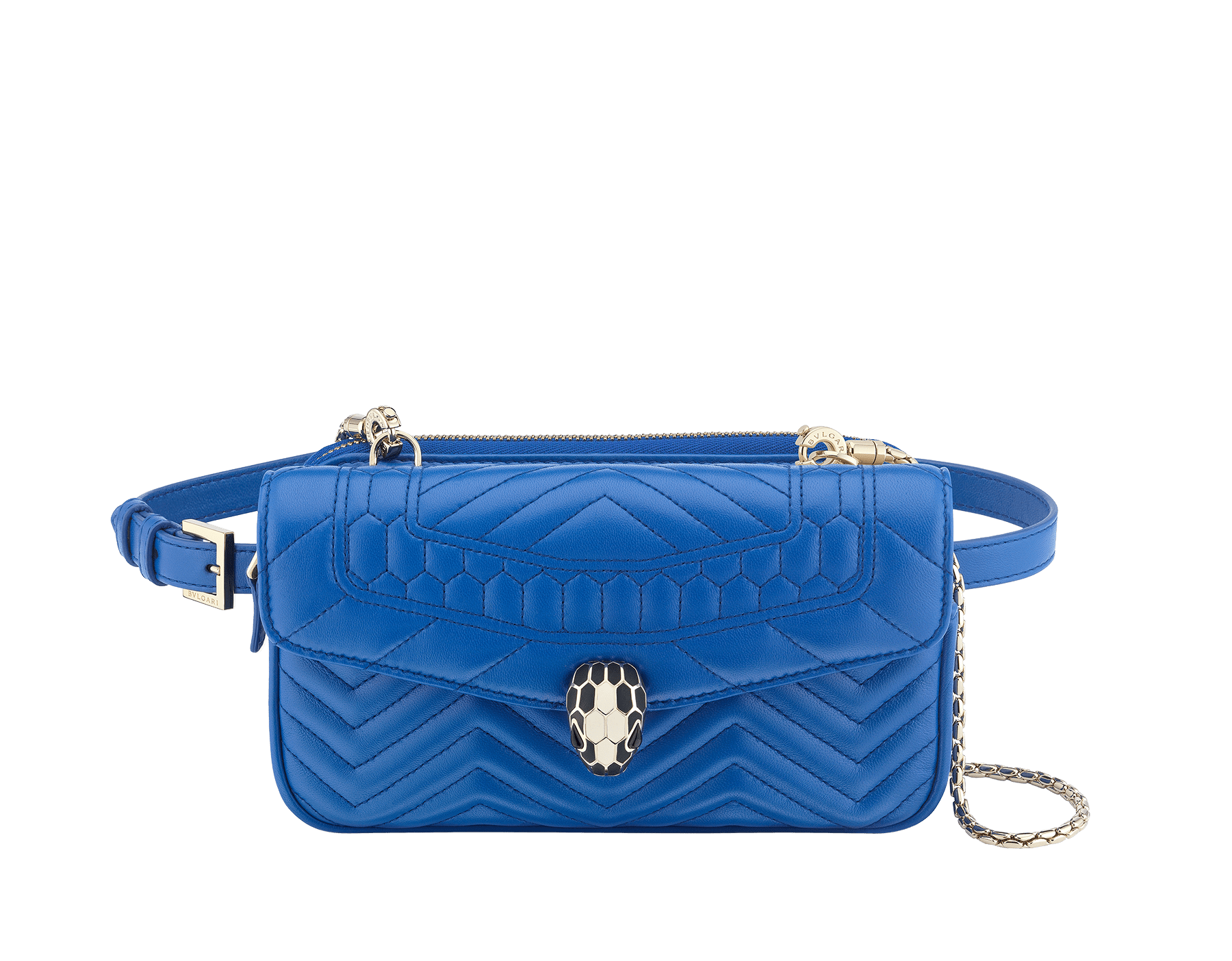 Belt Bag Serpenti Forever in cobalt tourmaline quilted chevron nappa leather. Hardware in light gold plated brass and snakehead closure in matte black and white agate enamel, with eyes in black onyx. 287851 image 1