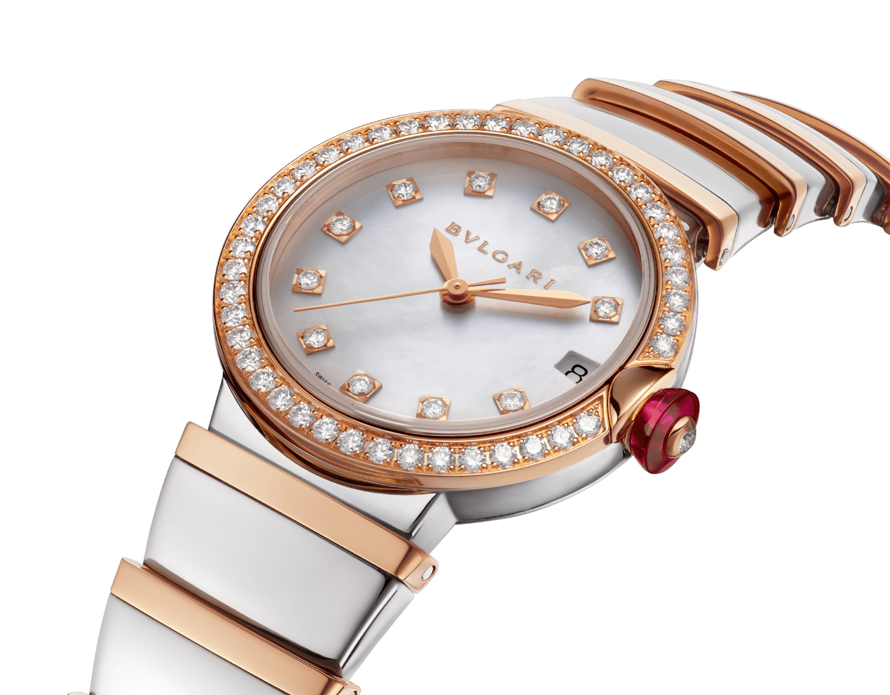 LVCEA watch in 18kt rose gold and stainless steel case and bracelet, set with diamonds on the bezel, and white mother-of-pearl dial with diamond indexes. 102476 image 2