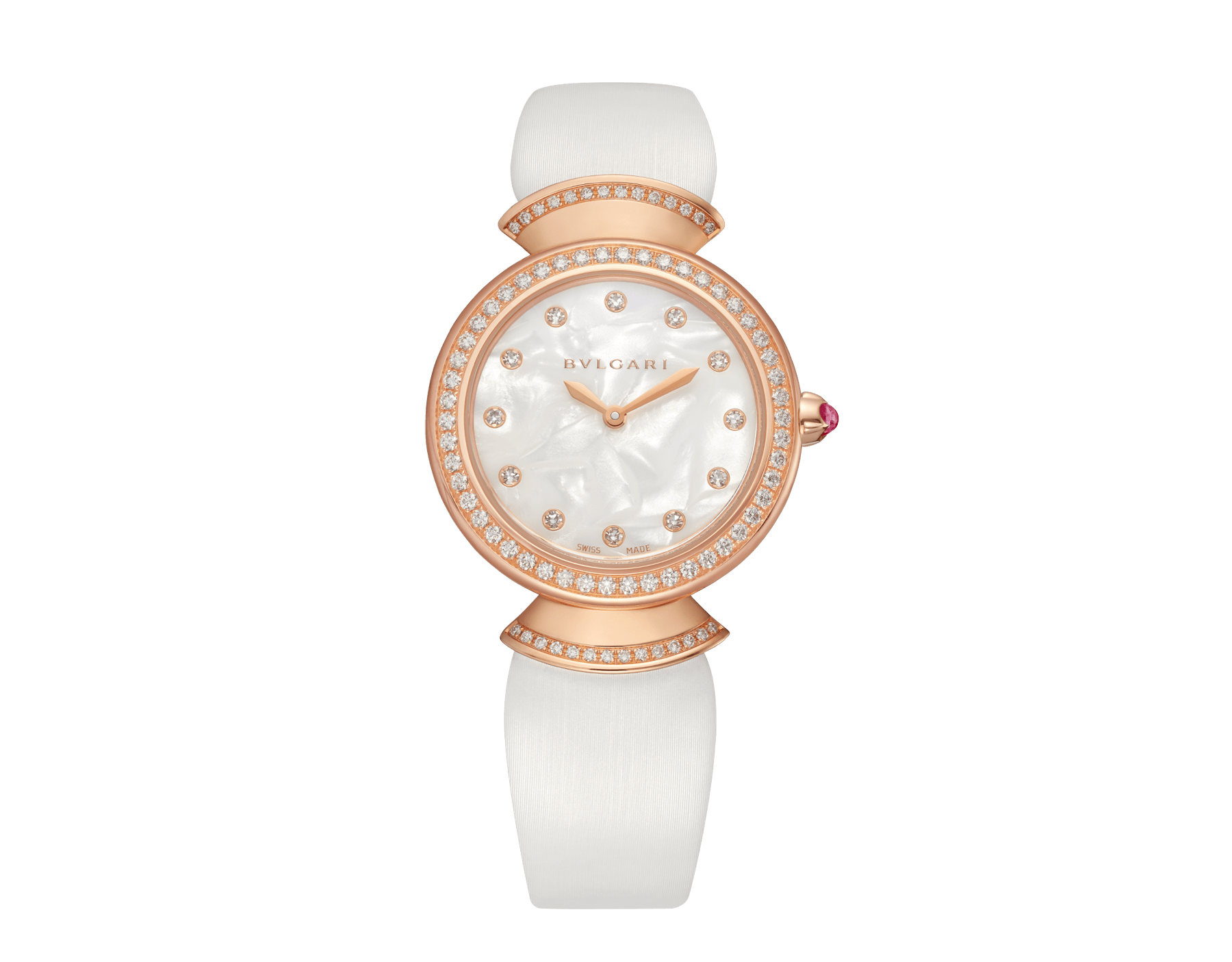 Montre DIVAS' DREAM avec boîtier en or rose 18 K serti de diamants taille brillant, cadran en acétate naturel, index sertis de diamants et bracelet en satin blanc 102433 image 1