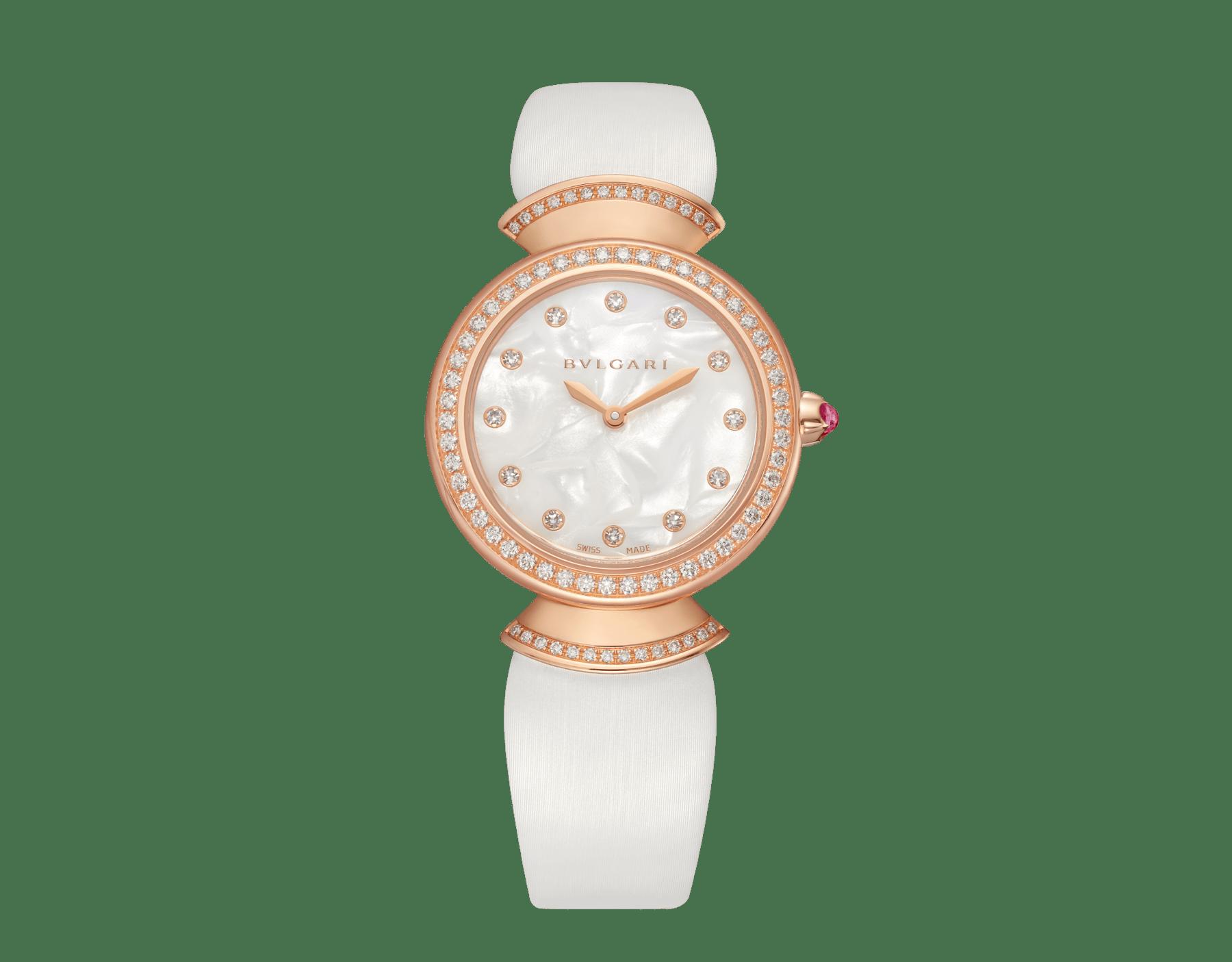 Montre DIVAS' DREAM avec boîtier en or rose 18K serti de diamants taille brillant, cadran en acétate naturel, index sertis de diamants et bracelet en satin blanc 102433 image 1