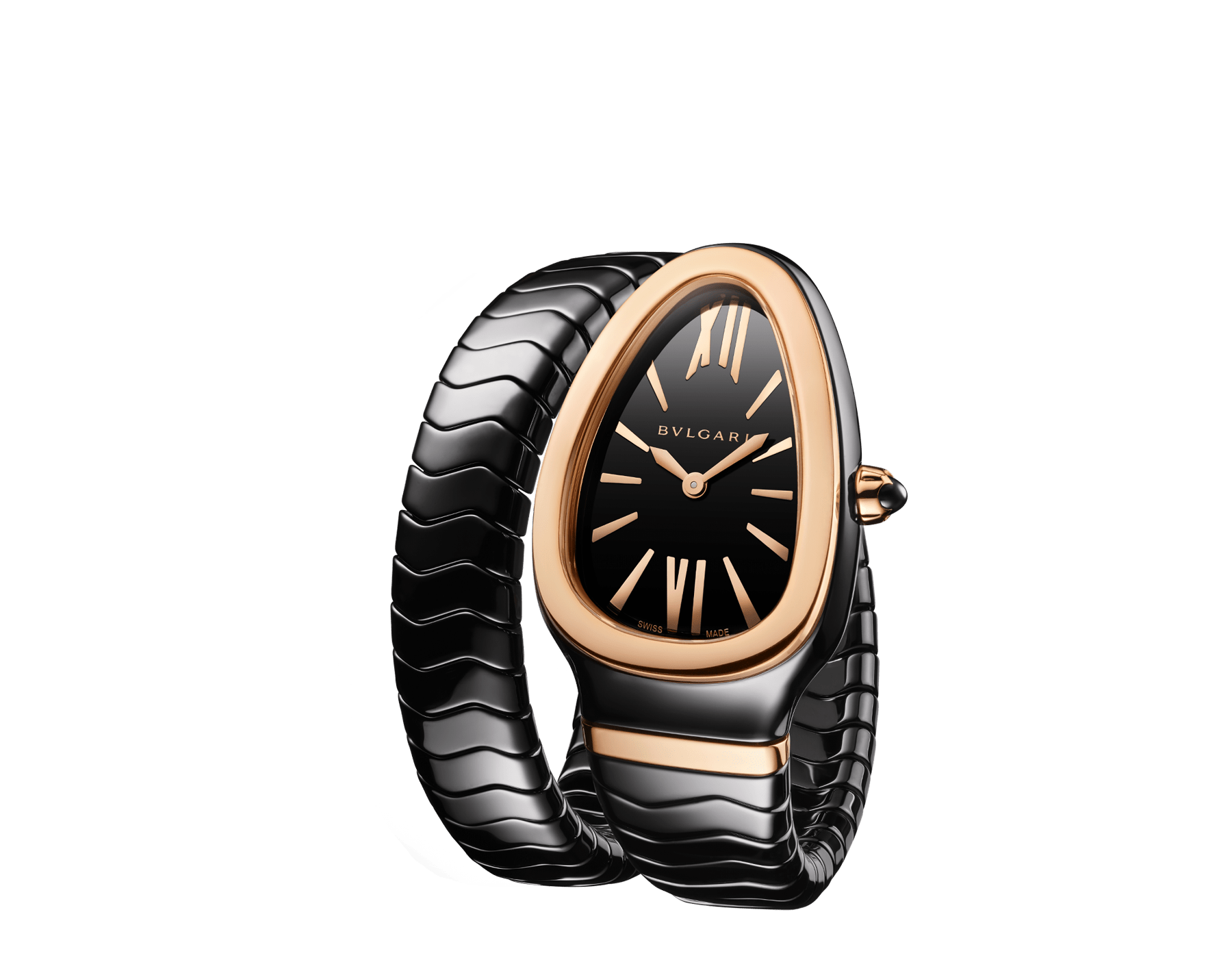 Serpenti Spiga single spiral watch with black ceramic case, 18 kt rose gold bezel, black lacquered dial and black ceramic bracelet set with 18 kt rose gold elements. 102735 image 2