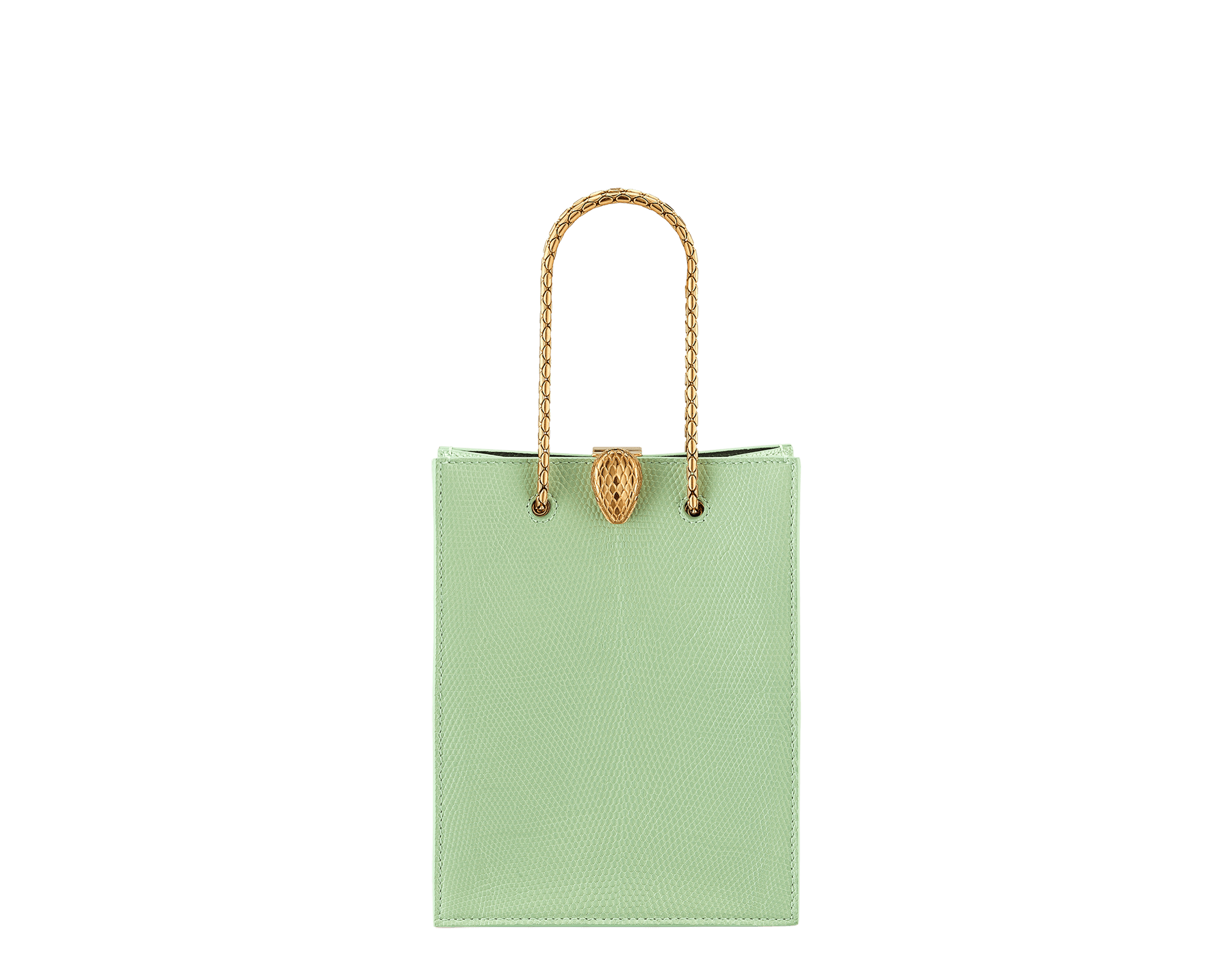 Alexander Wang x Bvlgari mini shopping tote bag in mint lizard skin and black calf leather. New Serpenti head closure in antique gold plated brass with tempting red enamel eyes. Limited edition. 288727 image 1