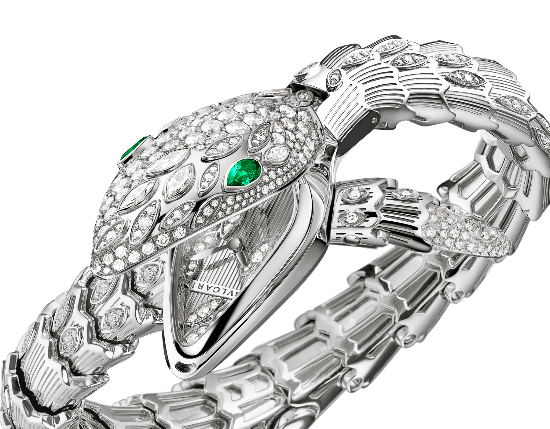 Serpenti Secret Watch with 18 kt white gold case, 18 kt white gold head, dial and single spiral bracelet all set with brilliant cut and marquise cut diamonds, and emerald eyes . 102238 image 2