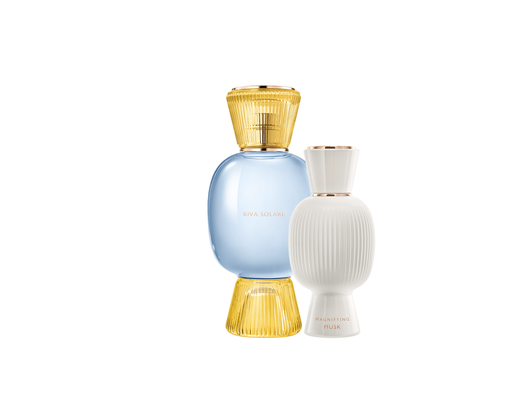 An exclusive perfume set, as bold and unique as you. The sparkling citrus Riva Solare Allegra Eau de Parfum blends with the warm touch of the Magnifying Musk Essence, creating an irresistible personalised women's perfume. Perfume-Set-Riva-Solare-Eau-de-Parfum-and-Musk-Magnifying image 1