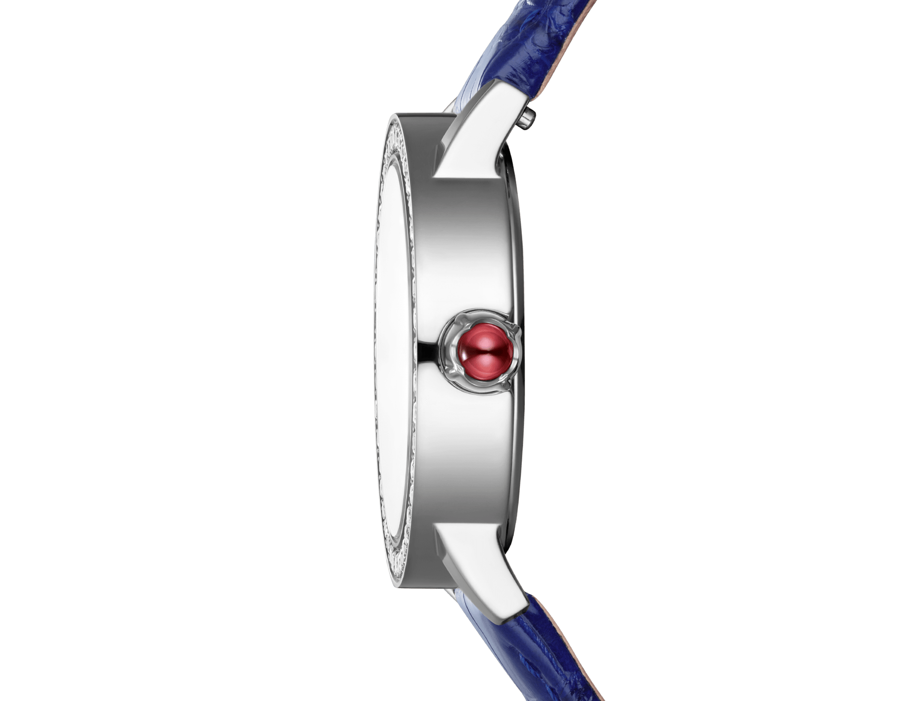 BVLGARI BVLGARI watch with stainless steel case set with brilliant-cut diamonds, mother-of-pearl dial, diamond indexes and shiny blue alligator bracelet 102721 image 3