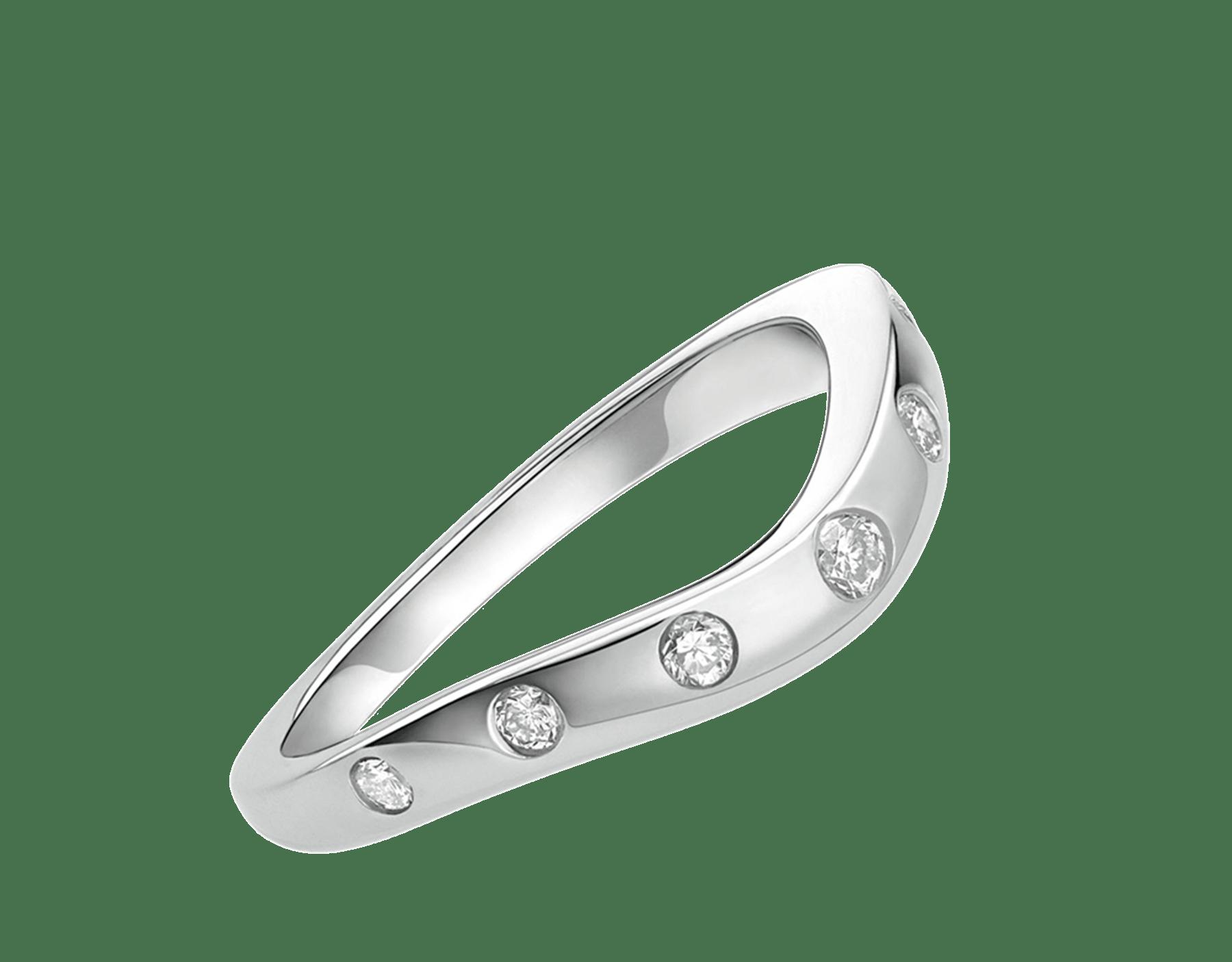 Corona platinum wedding ring with 7 diamonds with matching Corona 0.40 - 1.50 ct engagement rings AN856078 image 1