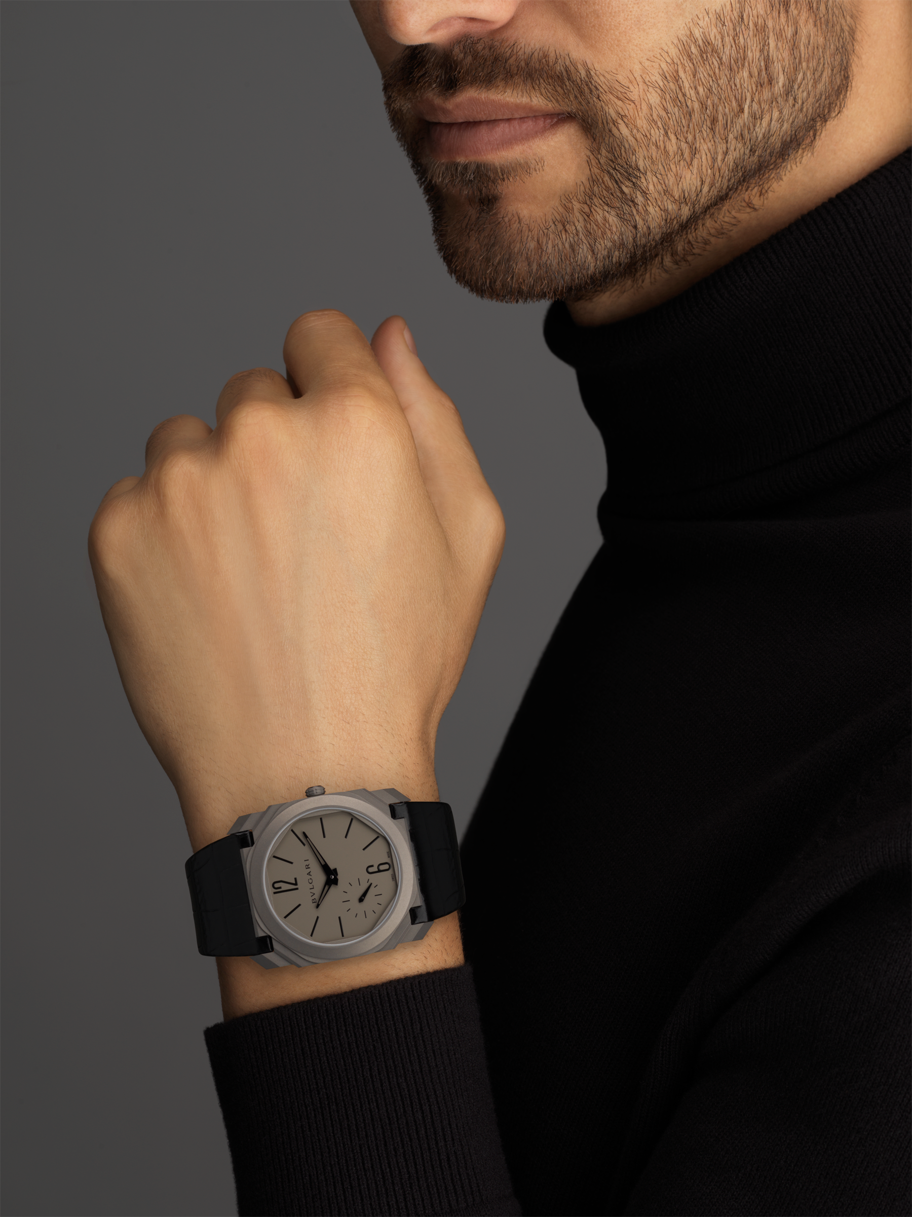 Octo Finissimo Automatic watch with extra thin mechanical manufacture movement, automatic winding and small seconds, titanium case and dial, black alligator bracelet. 102711 image 5