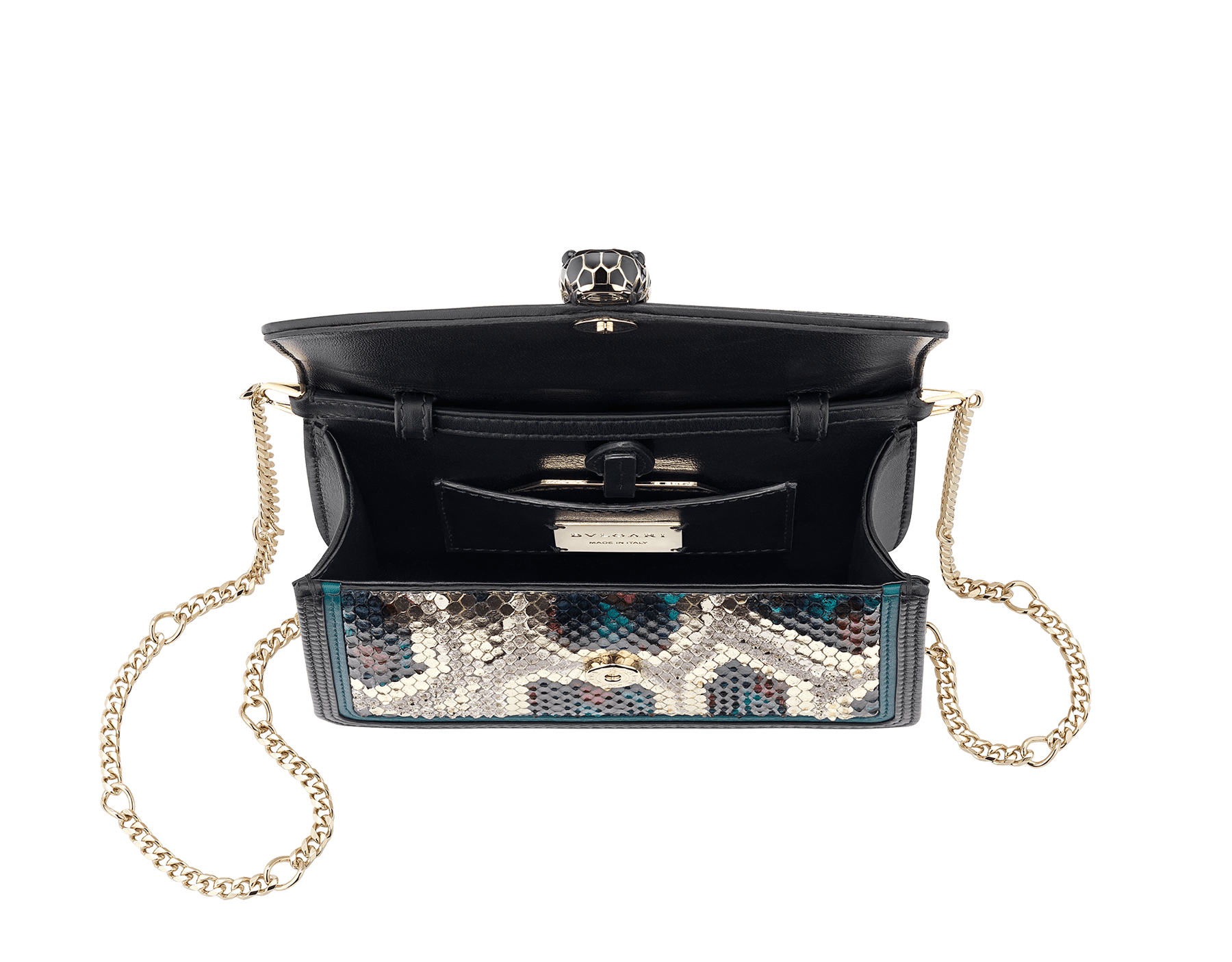 """Serpenti Diamond Blast"" crossbody micro bag in white agate Lunar python skin body and deep jade and black calf leather frames. Iconic snakehead closure in light gold plated brass enriched with deep jade and black enamel and black onyx eyes. 288266 image 4"