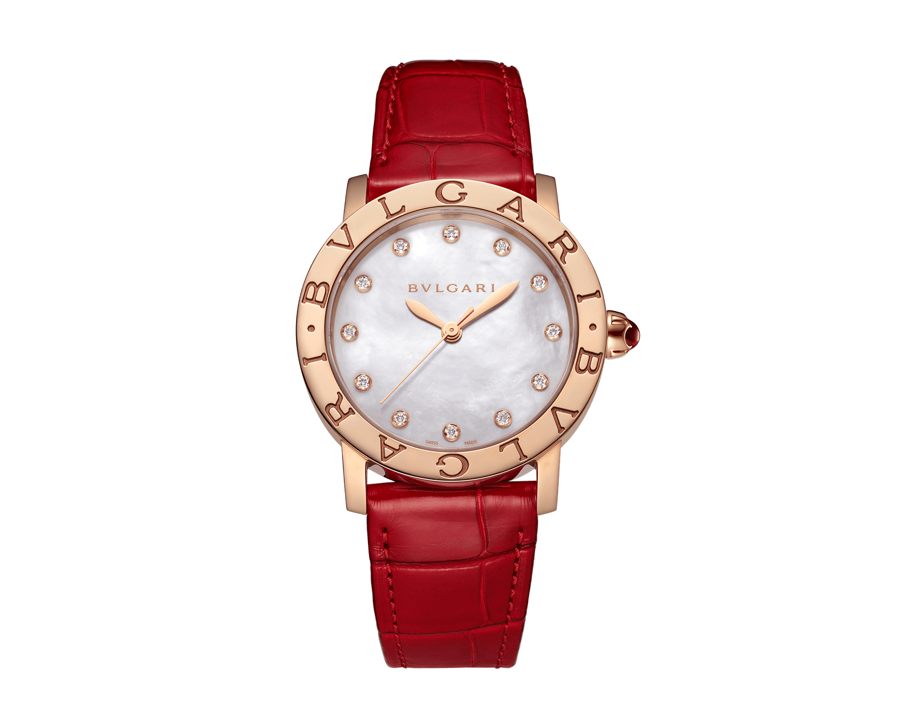 BVLGARI BVLGARI watch with 18 kt rose gold case, white mother-of-pearl dial, diamond indexes and shiny red alligator bracelet 102750 image 1