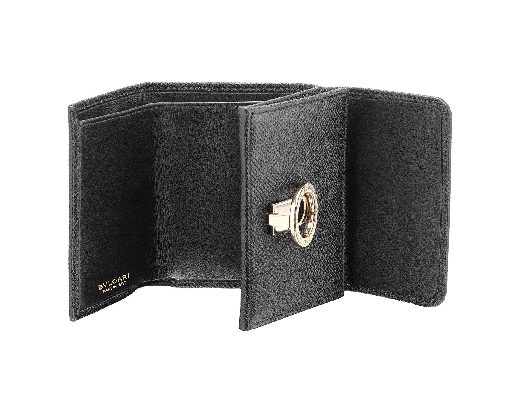 BVLGARI BVLGARI super compact wallet in black grain calf leather and black nappa leather. Iconic logo closure clip in light gold plated brass. 288648 image 2