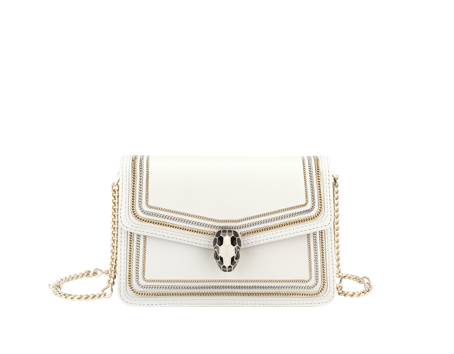 """Serpenti Diamond Blast"" crossbody mini bag in black smooth calf leather, featuring a 3-Chain motif in light gold and palladium finishing. Iconic snakehead closure in light gold plated brass enriched with black and white enamel and black onyx eyes. 987-3CFCL image 1"