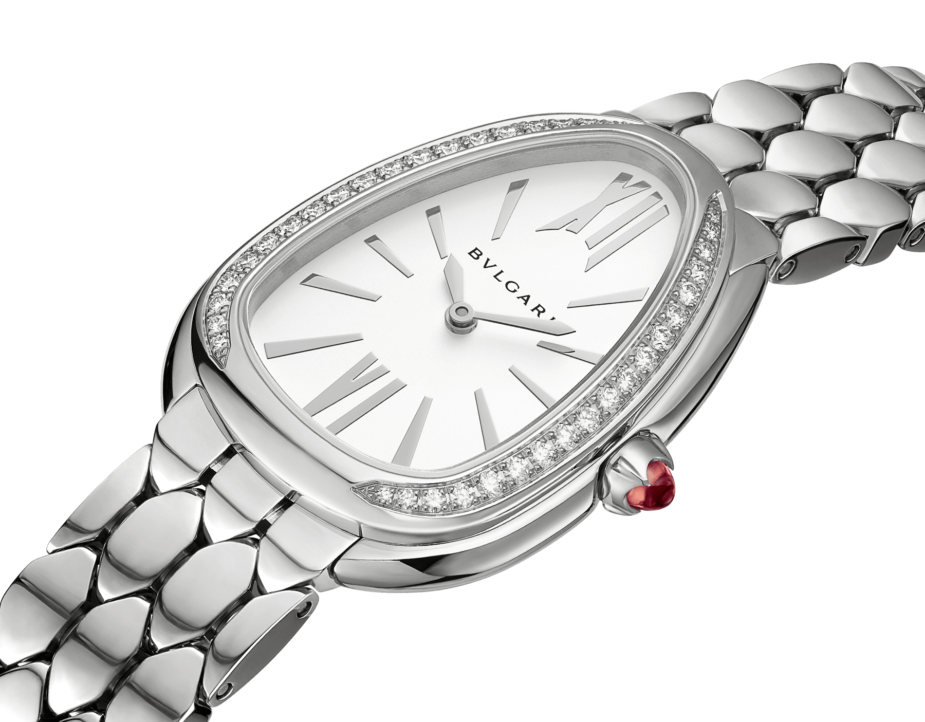 Serpenti Seduttori watch in stainless steel case and bracelet, stainless steel bezel set with diamonds and white silver opaline dial 103361 image 3