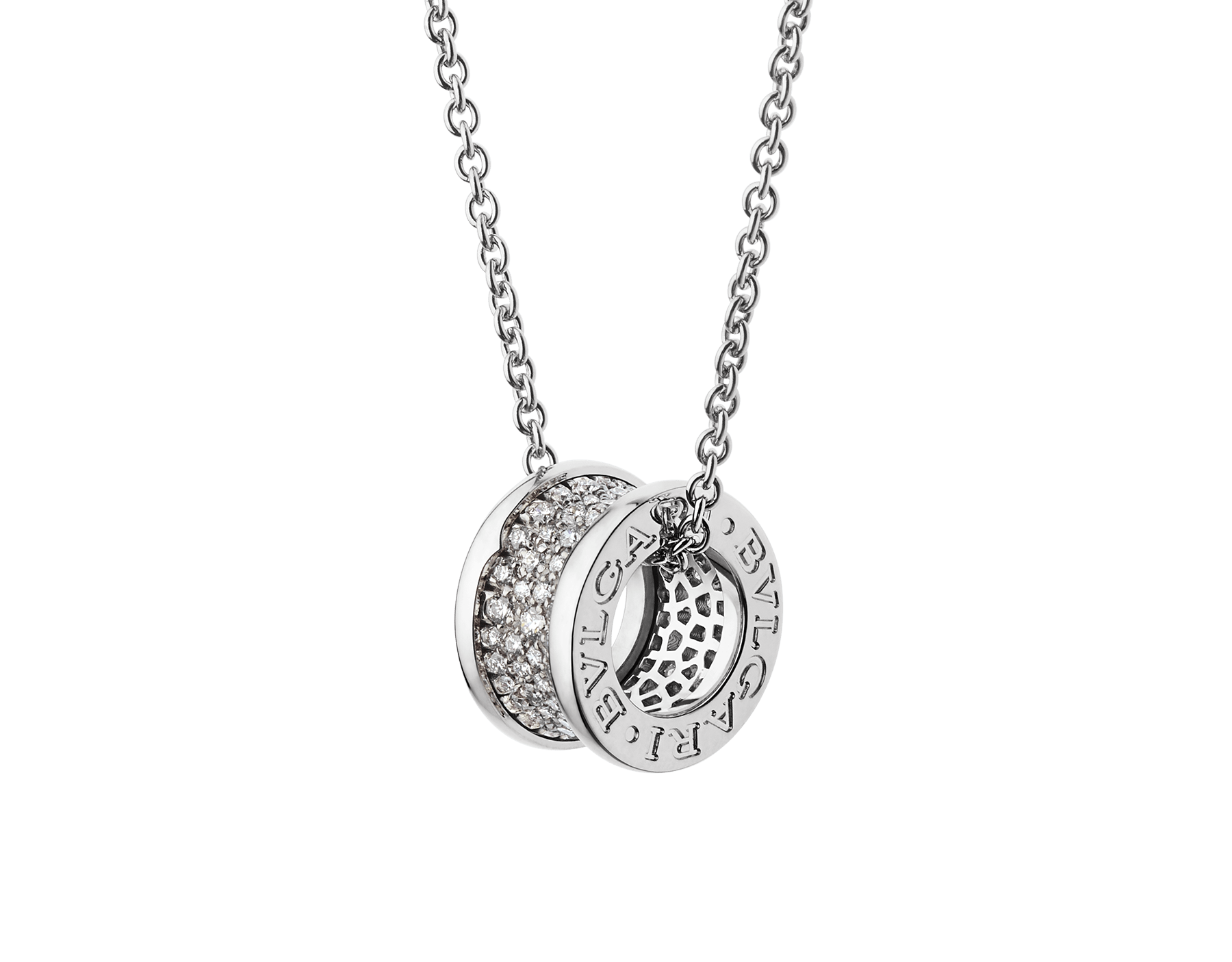 B.zero1 necklace with 18 kt white gold chain and pendant in 18 kt white gold set with pavé diamonds on the spiral. 346167 image 1
