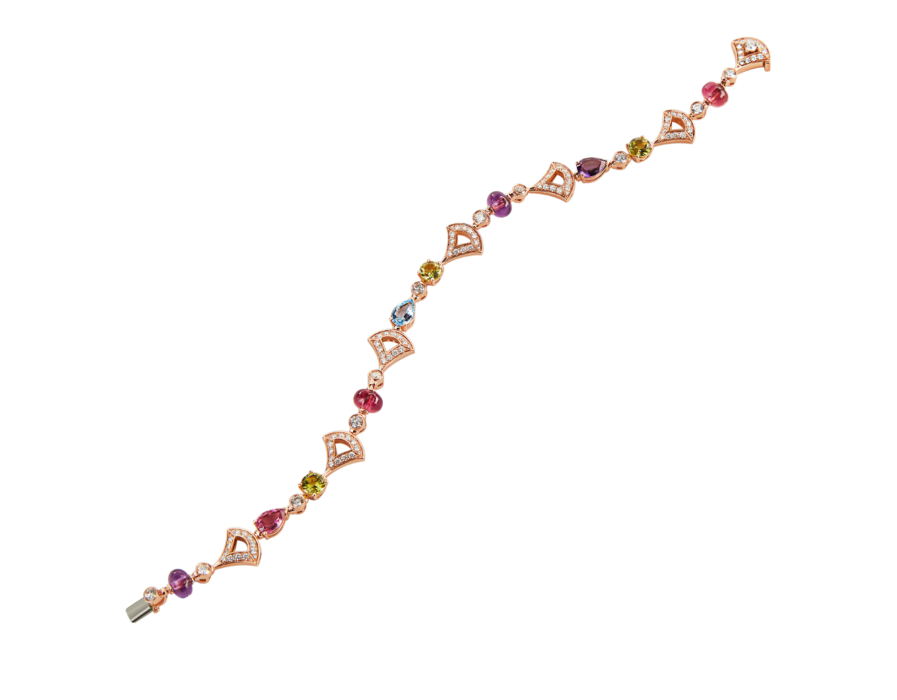 Bracelet DIVAS' DREAM en or rose 18 K serti de pierres de couleur et pavé diamants BR858404 image 2