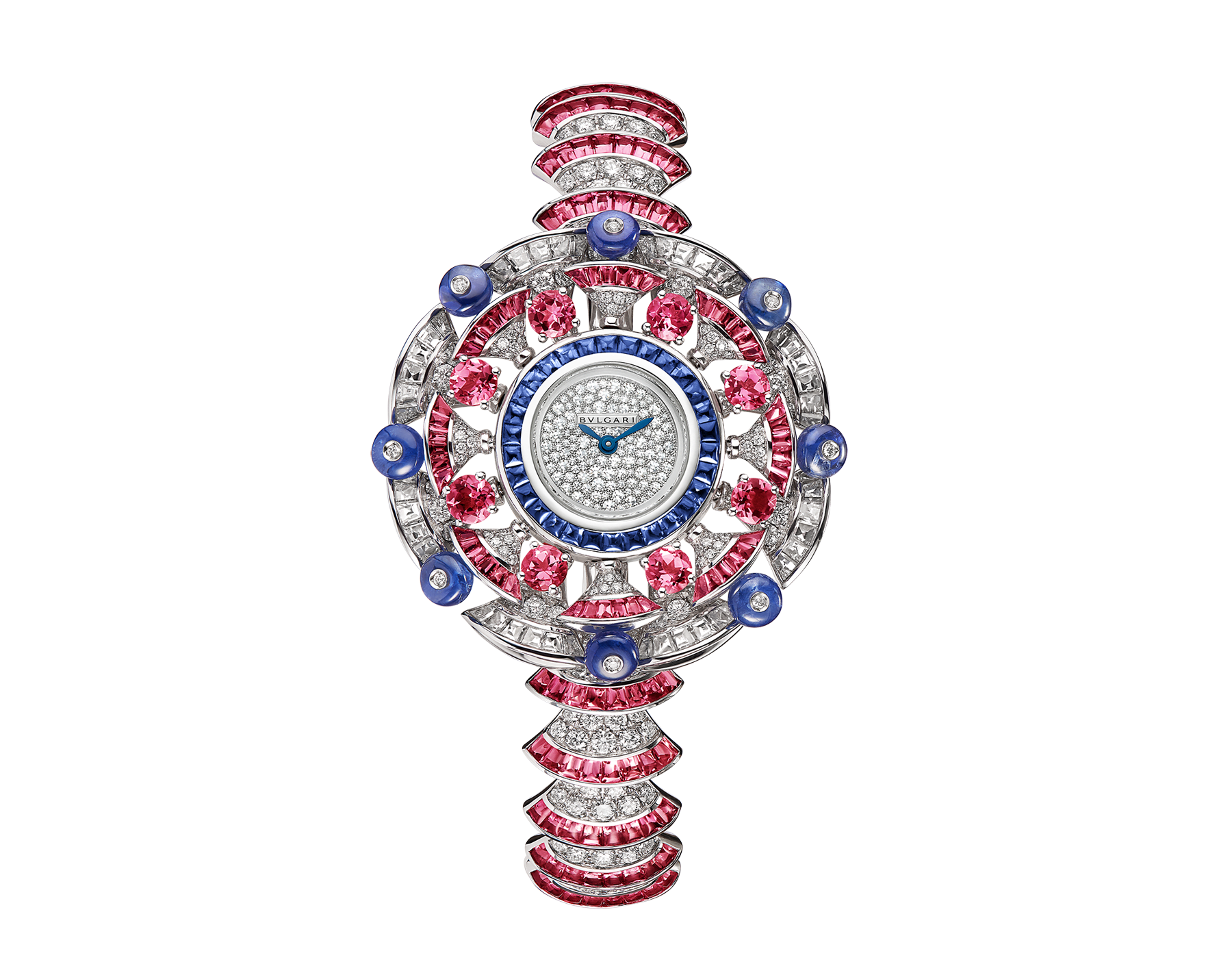DIVAS' DREAM watch with 18 kt white gold case set with baguette and brilliant-cut diamonds, round and buff-cut rubellites, buff-cut sapphires and sapphire beads, snow pavé dial, 18 kt white gold bracelet set with brilliant-cut diamonds and buff-cut rubellites 102153 image 1