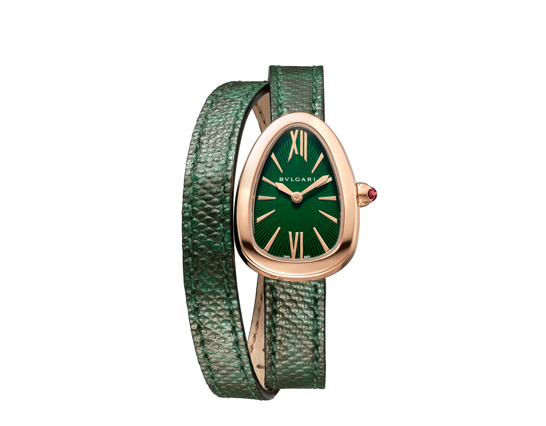 Serpenti watch with 18 kt rose gold case, green lacquered dial and interchangeable double spiral bracelet in green karung leather. 102726 image 1
