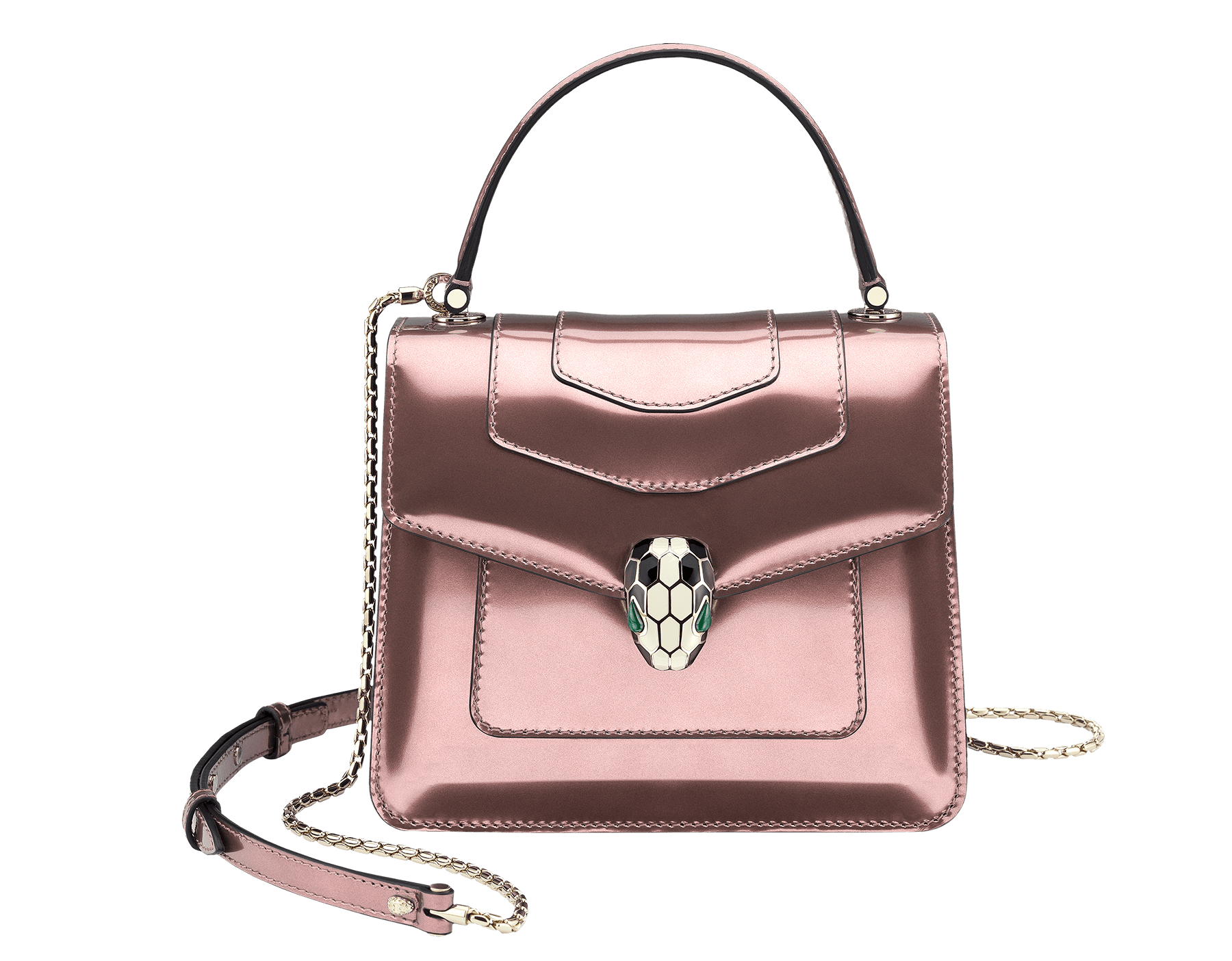 Flap cover bag Serpenti Forever in rose quartz brushed metallic calf leather. Brass light gold plated hardware and snake head closure in black and white enamel, with eyes in green malachite. 284802 image 3