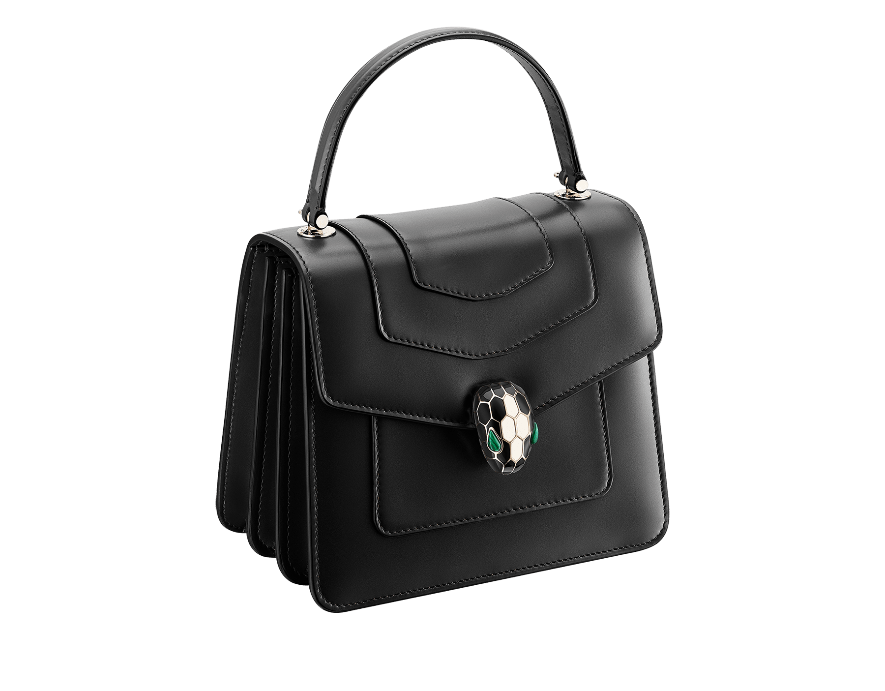 """""""Serpenti Forever"""" top-handle bag in black calfskin with emerald-green grosgrain inner lining. Iconic snakehead closure in light gold-plated brass embellished with black and agate-white enamel and green malachite eyes 1122-CLa image 2"""