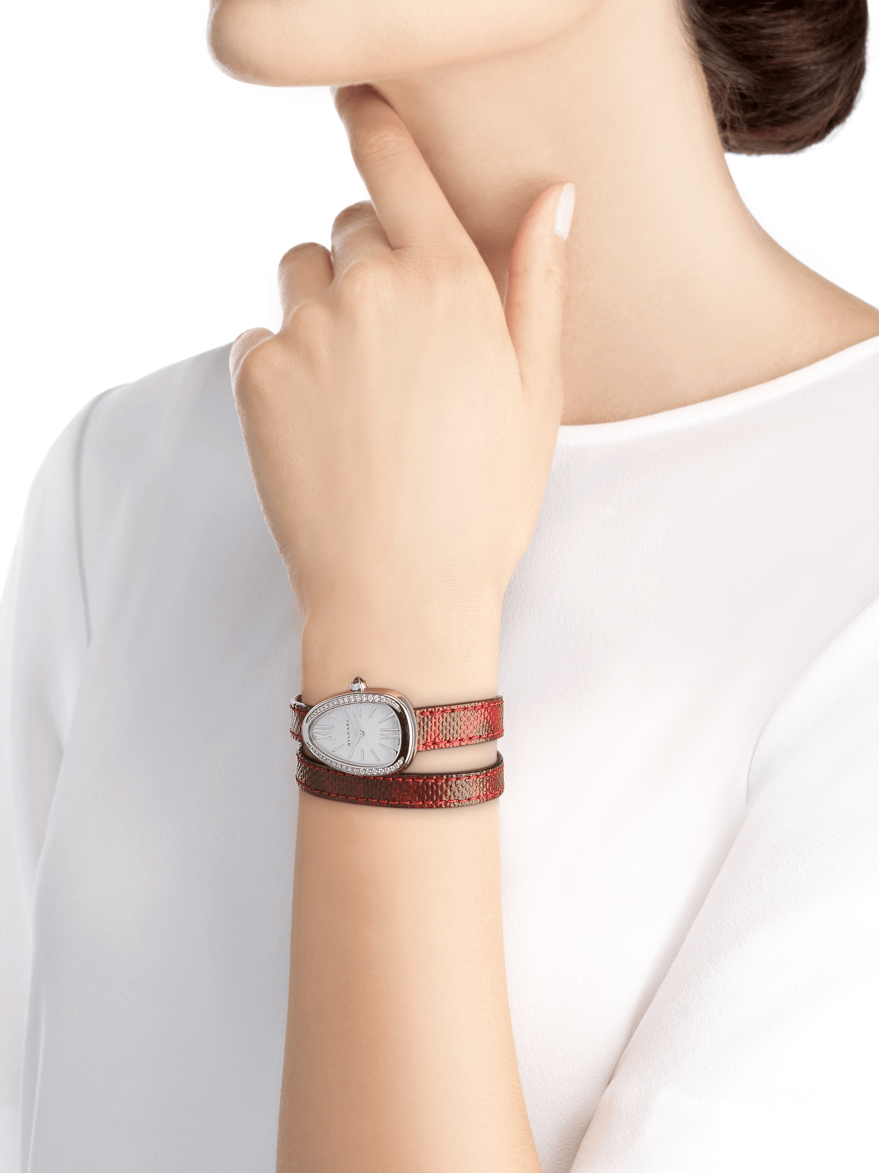 Serpenti watch with stainless steel case set with round brilliant-cut diamonds, white mother-of-pearl dial and interchangeable double spiral bracelet in red karung leather 102920 image 3