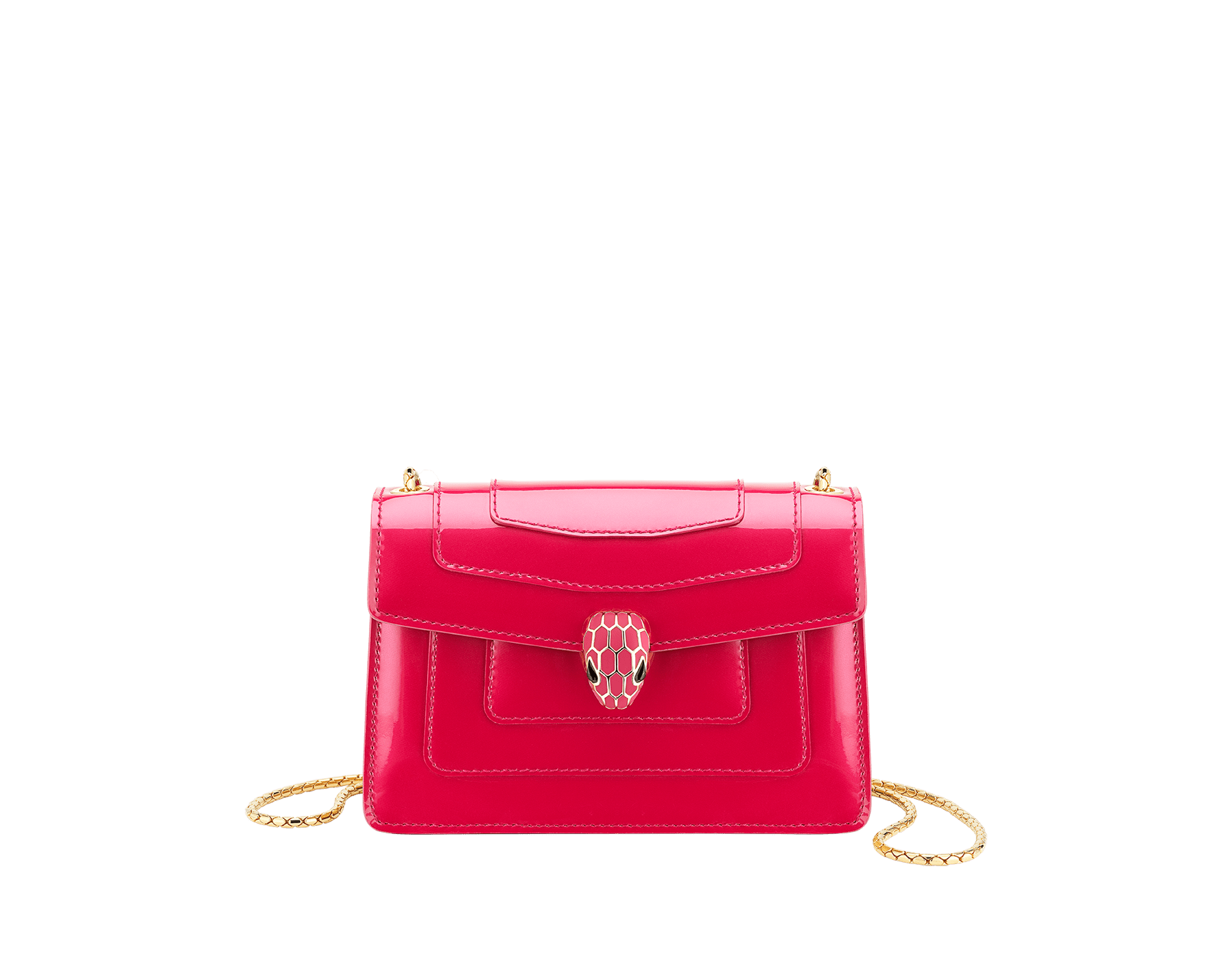 """Serpenti Forever"" crossbody mini bag in Magenta Spinel purple with a varnished and pearled effect, and black grosgrain inner lining. Gold-plated brass snakehead closure in full matte Magenta Spinel purple enamel, with black onyx eyes. Lunar New Year Special Edition. 986-VCL image 1"