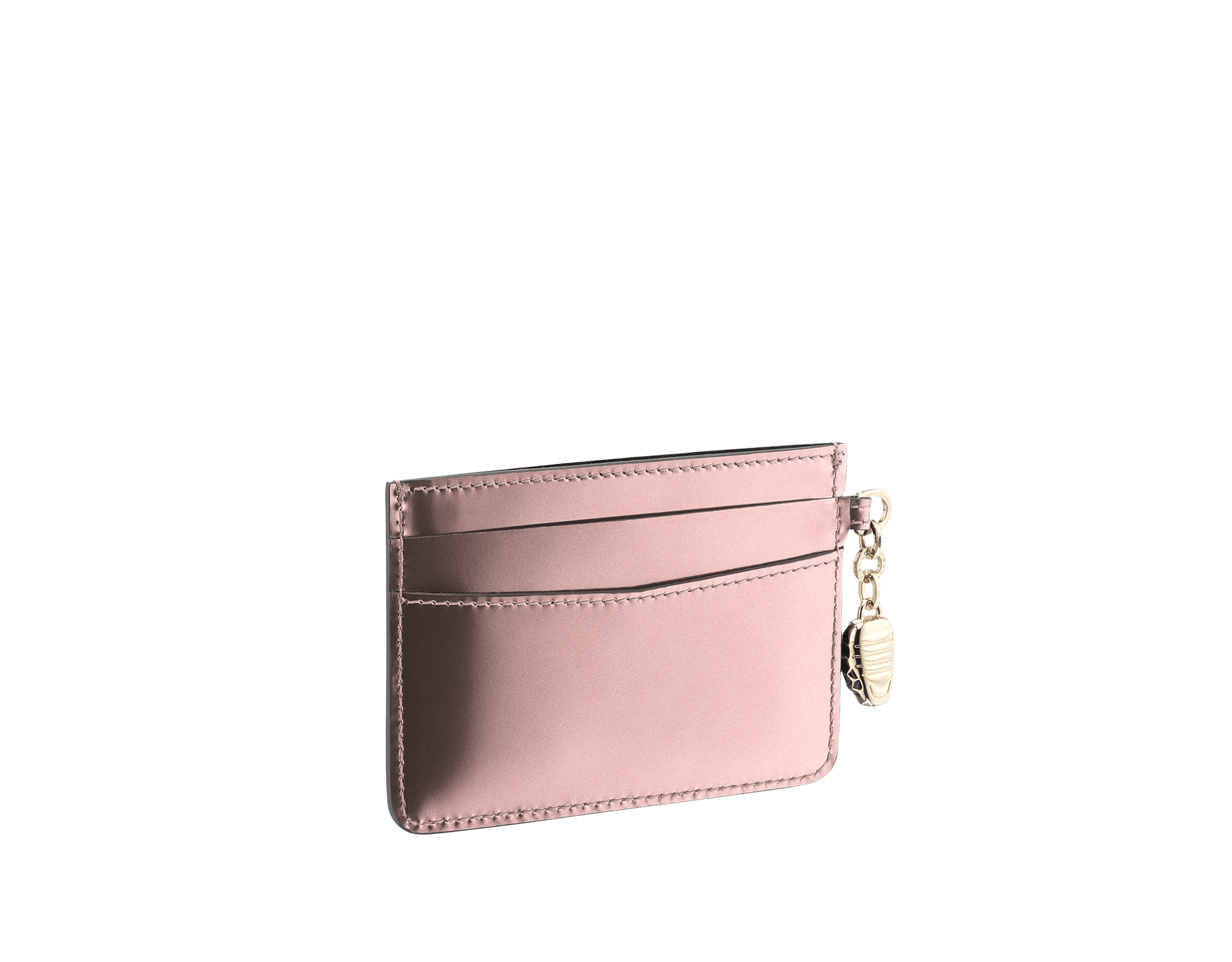Credit card holder in rose quartz brushed metallic calf leather and black calf leather lining. Serpenti charm in black and white enamel, with green enamel eyes and Bulgari logo. 285416 image 2