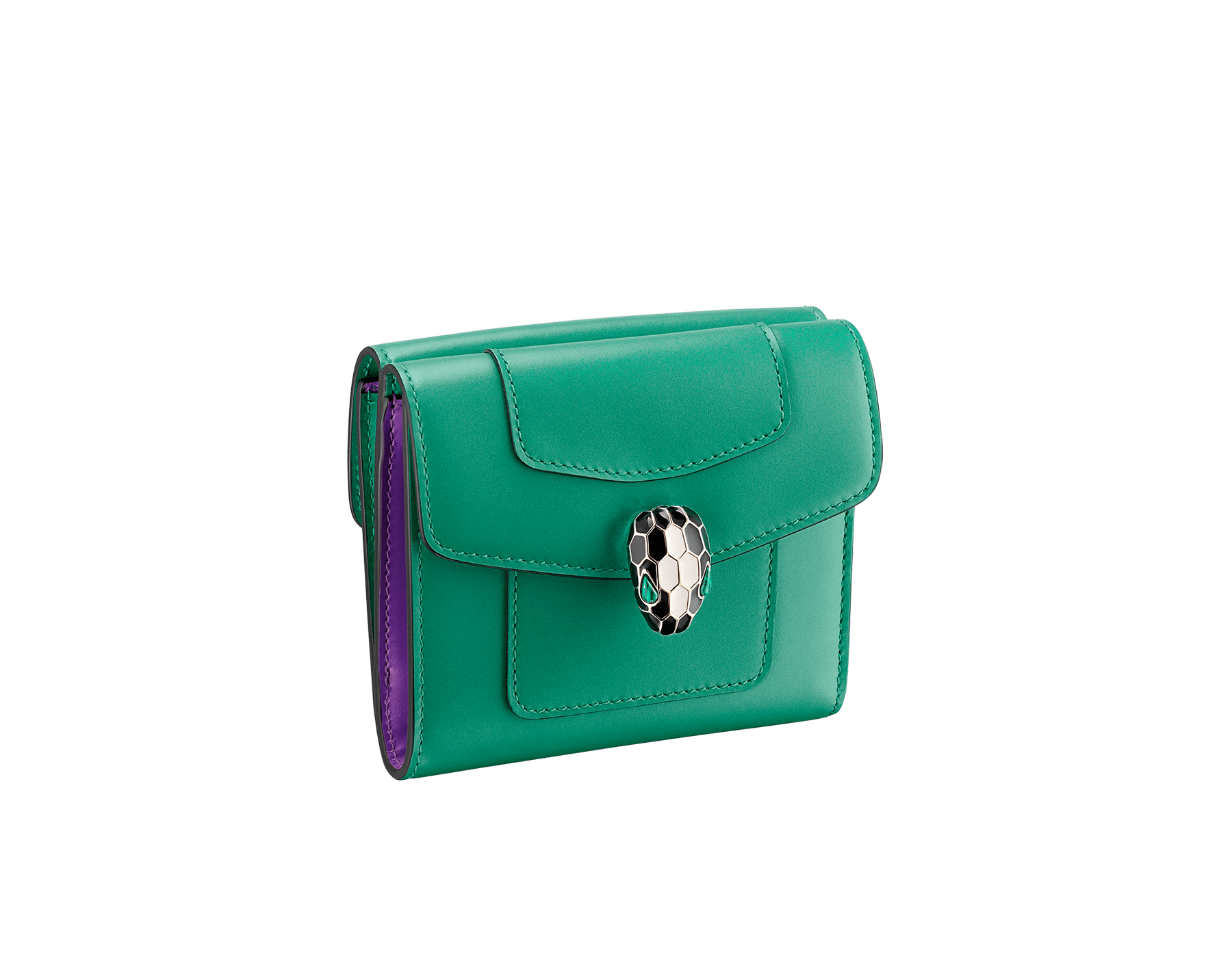Serpenti Forever square compact wallet in daisy topaz and crystal rose calf leather. Iconic snakehead stud closure in black and white agate enamel, with green malachite eyes. SEA-WLT-COMPACT-3Fa image 1