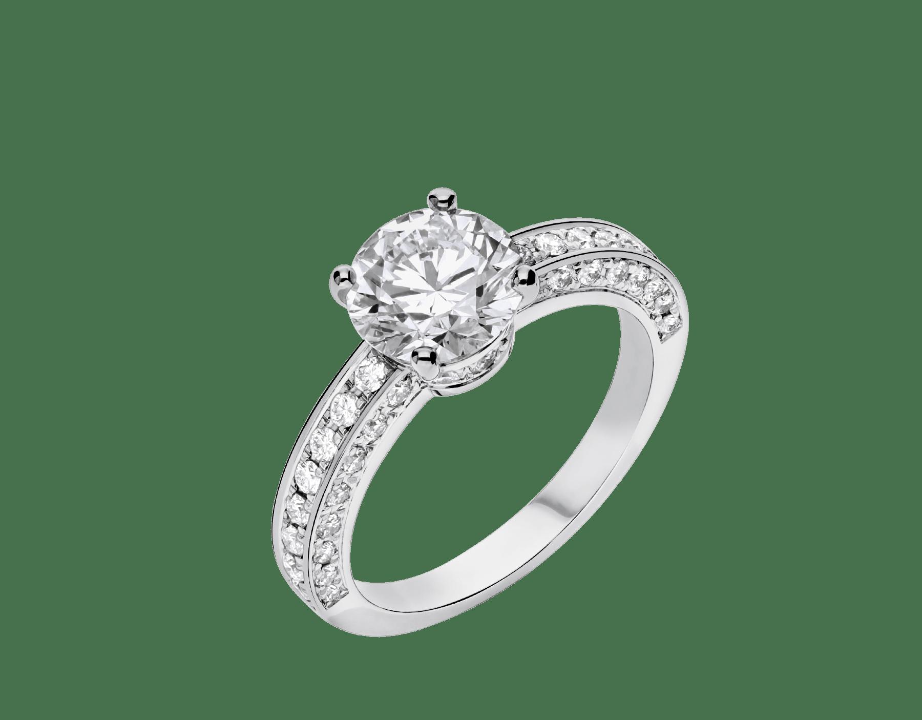 Dedicata a Venezia: solitaire1503 en platine serti d'un diamant rond taille brillant et pavé diamants 343367 image 2