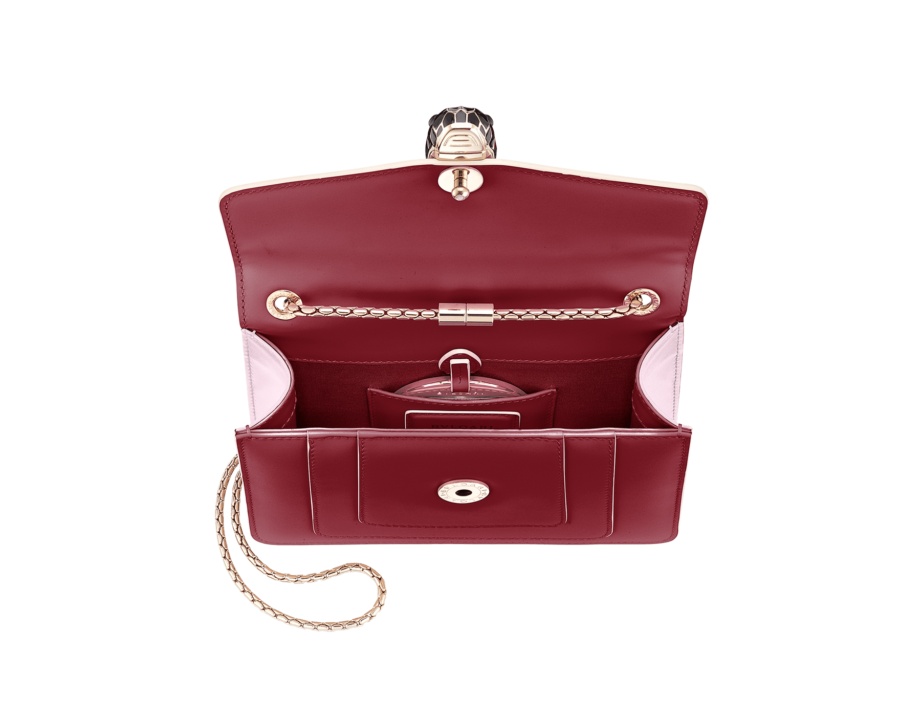 Serpenti Forever crossbody bag in Roman garnet calf leather, with rosa di francia calf leather sides. Iconic snakehead closure in light gold plated brass embellished with black and white enamel and green malachite eyes. 289035 image 7