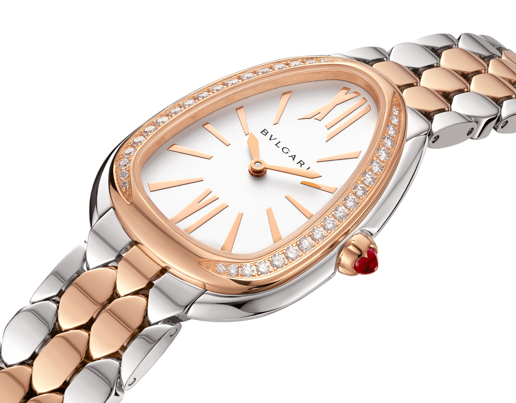 Serpenti Seduttori watch with stainless steel case, 18 kt rose gold bezel set with diamonds, white dial, and 18 kt rose gold and stainless steel bracelet 103274 image 2
