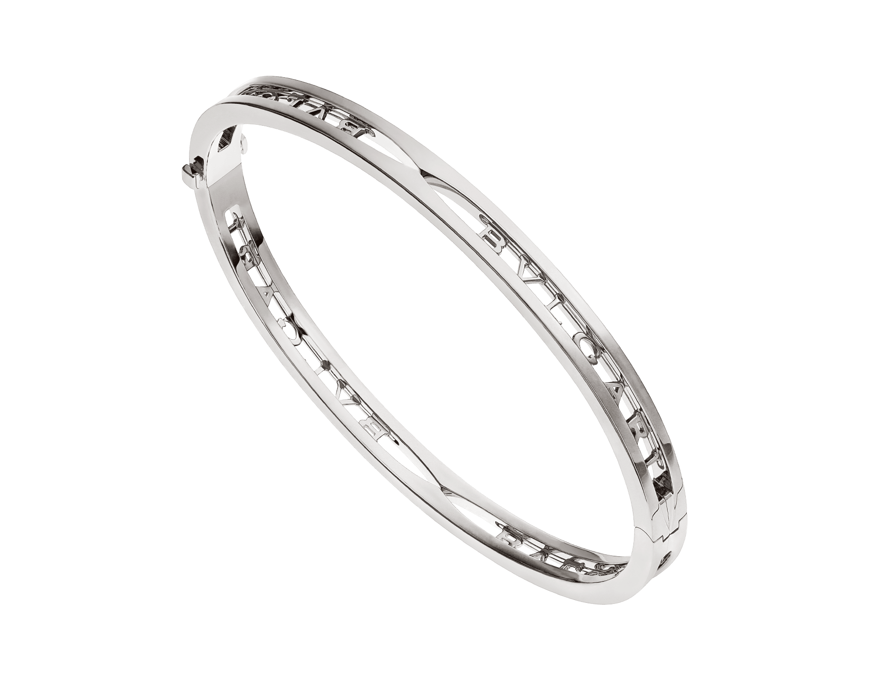 B.zero1 18 kt white gold bangle bracelet with BVLGARI logo on the spiral BR858725 image 1