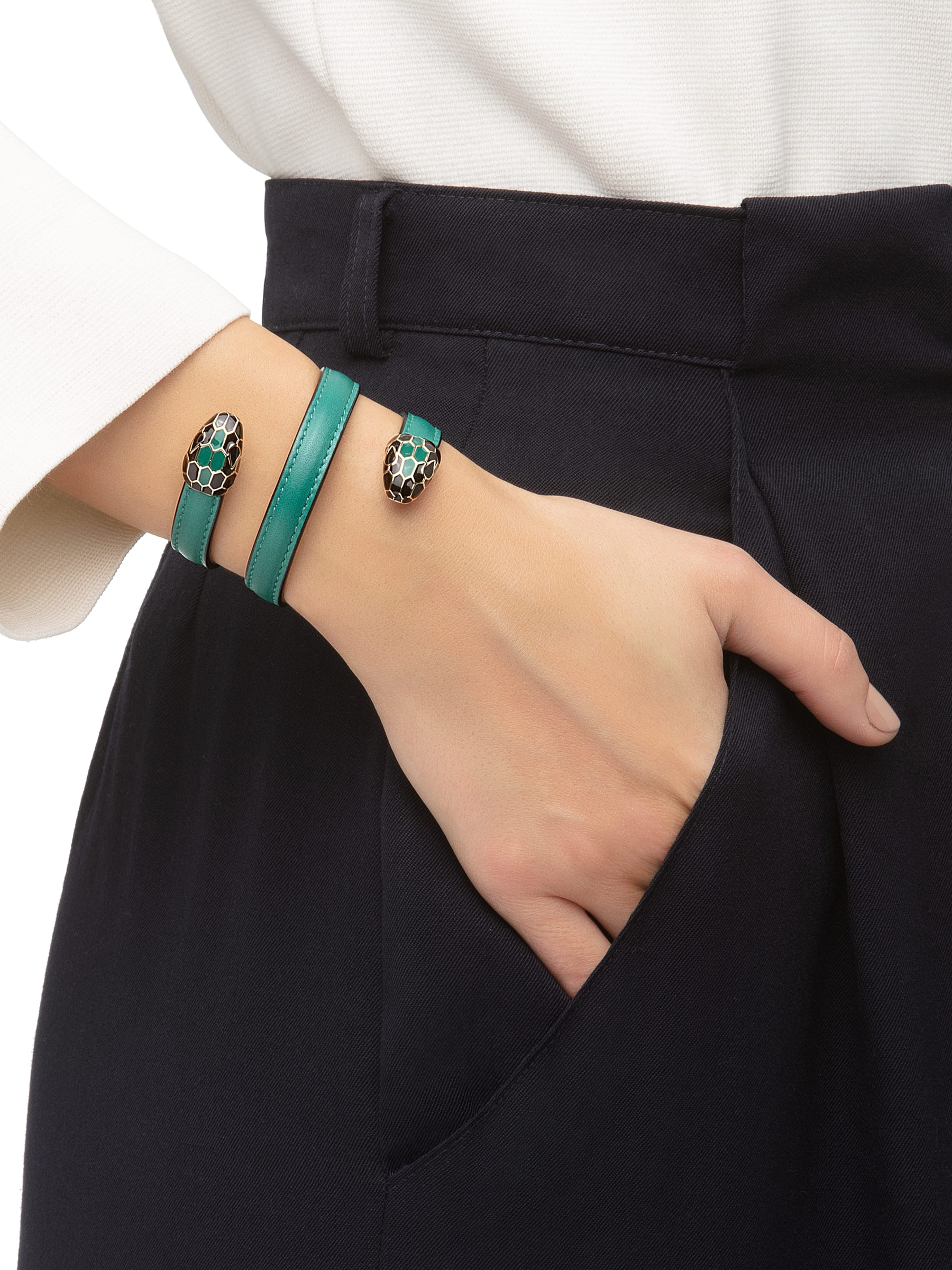 """Serpenti Forever"" multi-coiled rigid Cleopatra bracelet in emerald green calf leather, with brass light gold plated hardware. Iconic double snakehead decor enamelled in black and emerald green, finished with seductive eyes in black enamel. Cleopatra-CL-EG image 2"