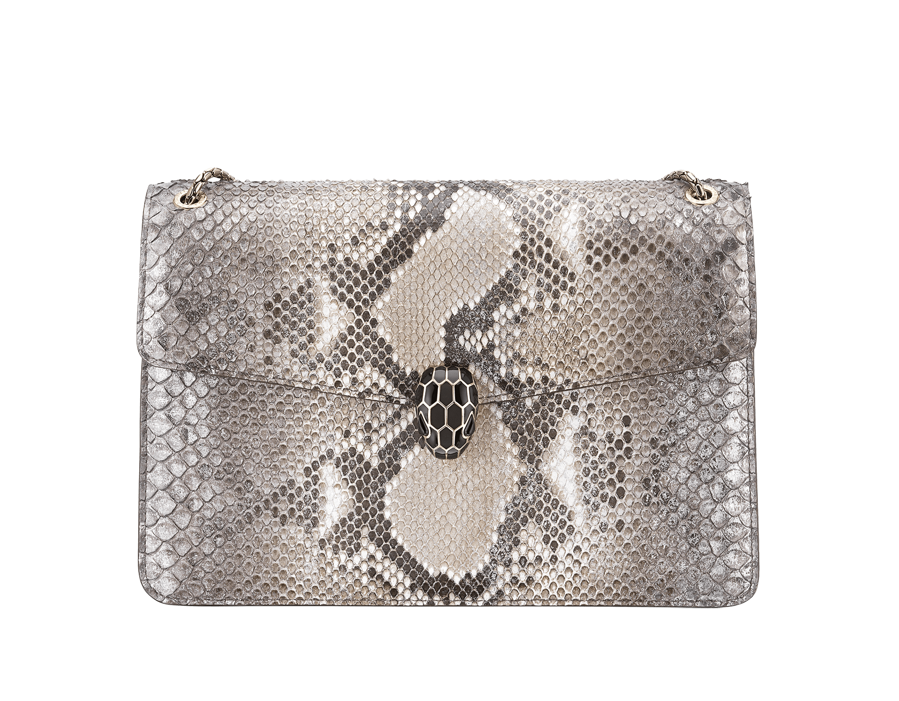 """Serpenti Forever"" shoulder bag in roccia ""Mineral"" python skin. Iconic snakehead closure in light gold plated brass enriched with black and hawk's eye enamel and black onyx eyes. 1089-P image 1"