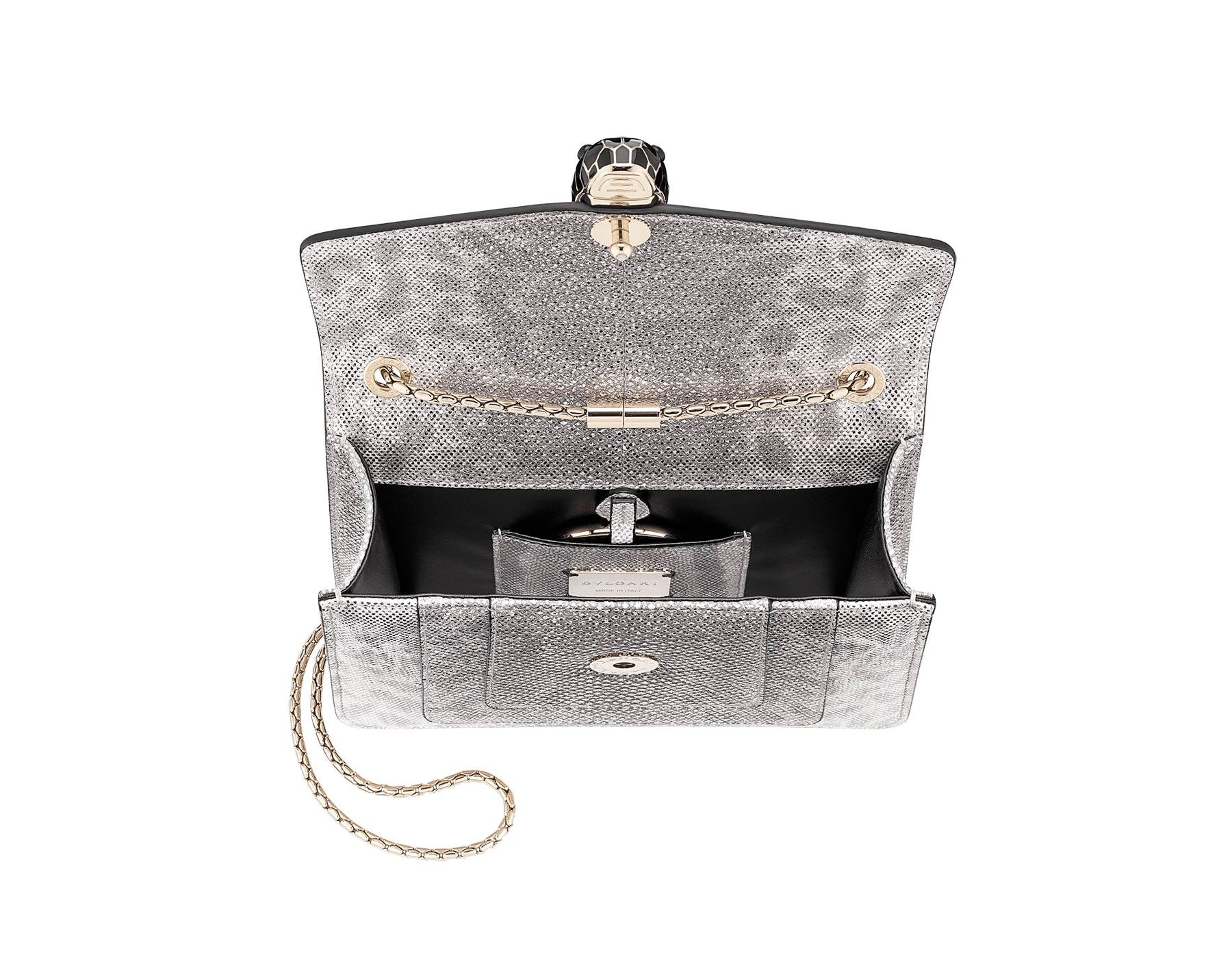 """Serpenti Forever "" crossbody bag in ruby red metallic karung skin. Iconic snakehead closure in light gold plated brass enriched with glitter red and shiny black enamel and black onyx eyes 422-MK image 4"