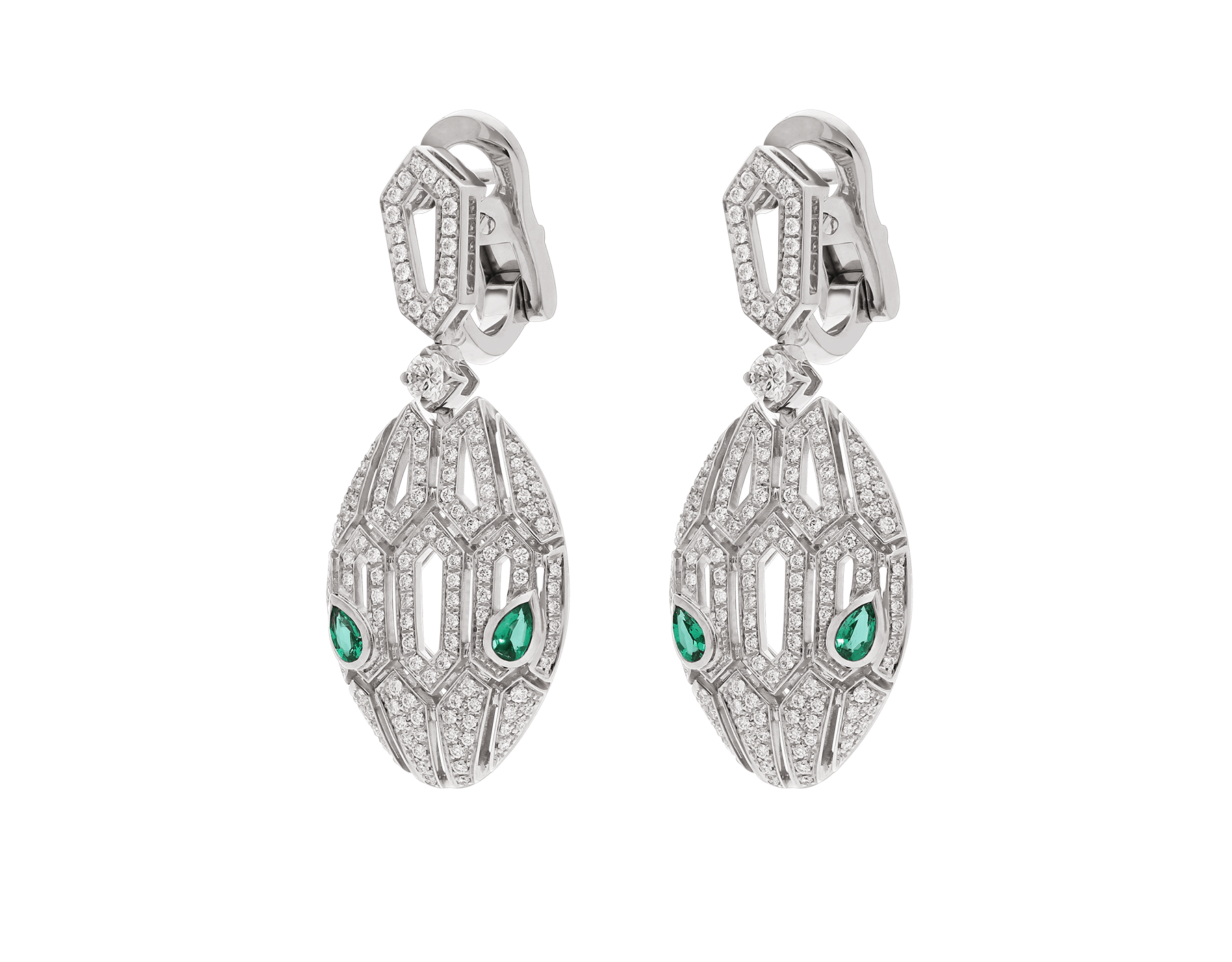 Serpenti earrings in 18 kt white gold, set with emerald eyes and full pavé diamonds. 352756 image 2