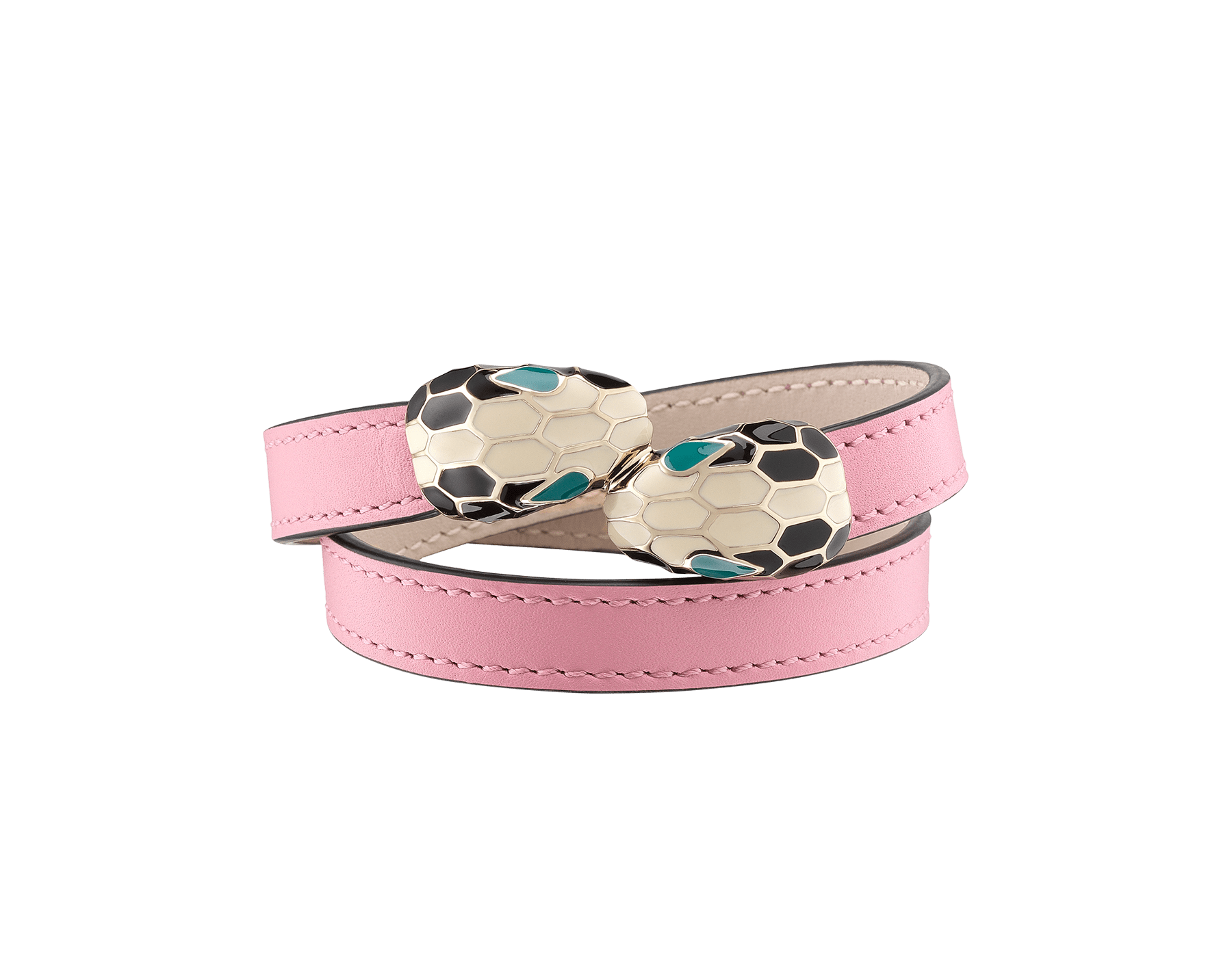 Serpenti Forever multi-coiled bracelet in flamingo quartz calf leather, with brass light gold plated hardware. Iconic contraire snakehead décor in black and white enamel, with green enamel eyes. MCSerp-CL-FQ image 1