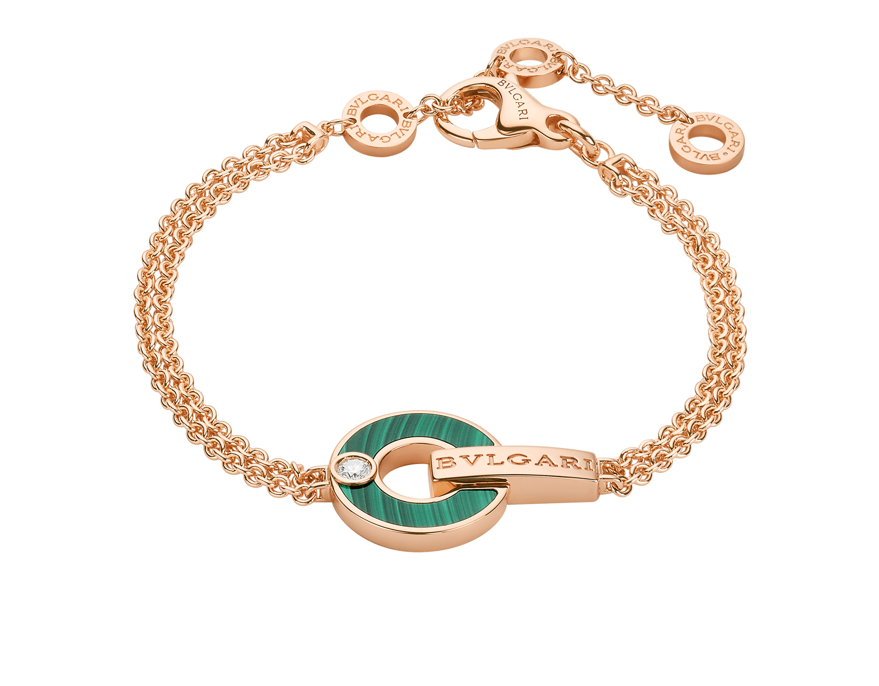 BVLGARI BVLGARI Openwork 18 kt rose gold bracelet set with malachite elements and a round brilliant-cut diamond BR858958 image 1