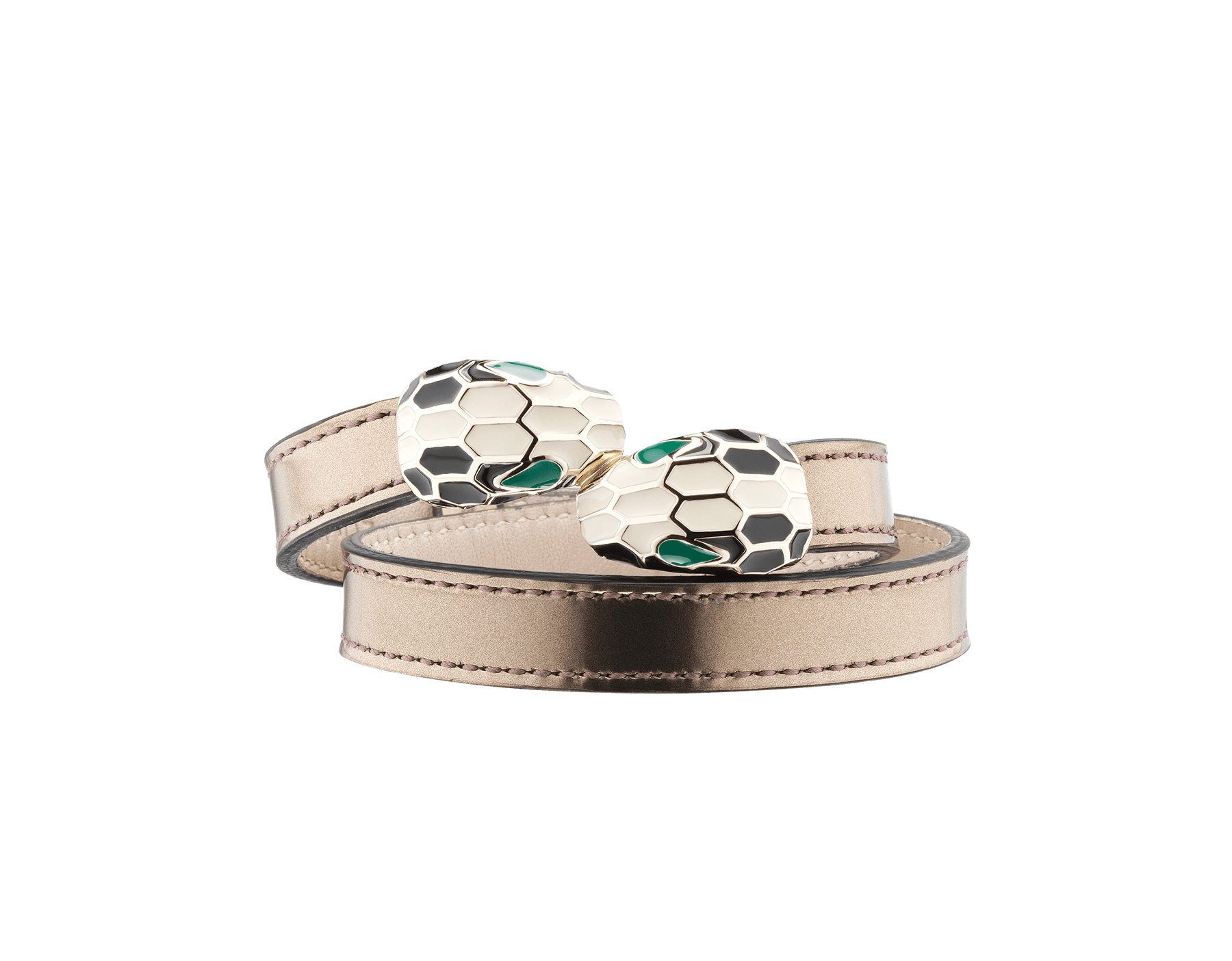 Multi-coiled bracelet in antique bronze brushed metallic calf leather. Brass light gold plated iconic contraire Serpenti head closure in black and white enamel with malachite enamel eyes. 39919 image 1