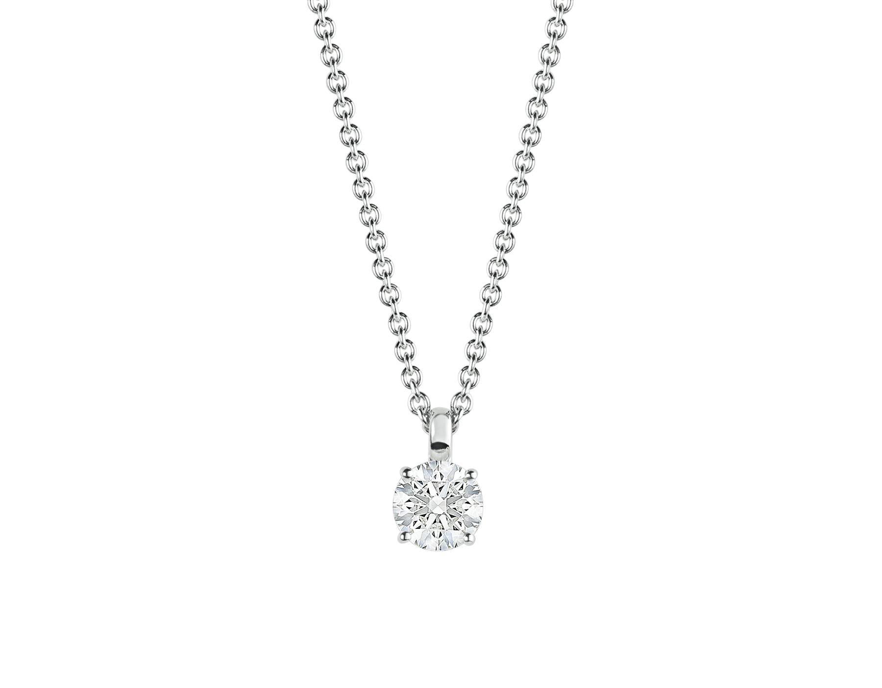 Griffe 18 kt white gold pendant with round brilliant cut diamond and 18 kt white gold chain 338201 image 1