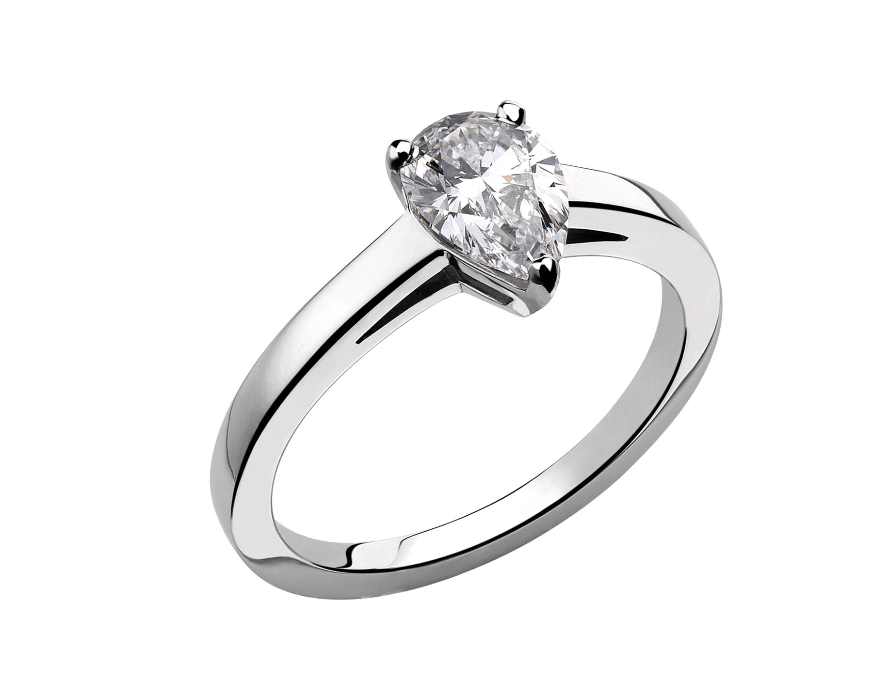 Griffe solitaire ring in platinum with pear cut diamond AN853569 image 1