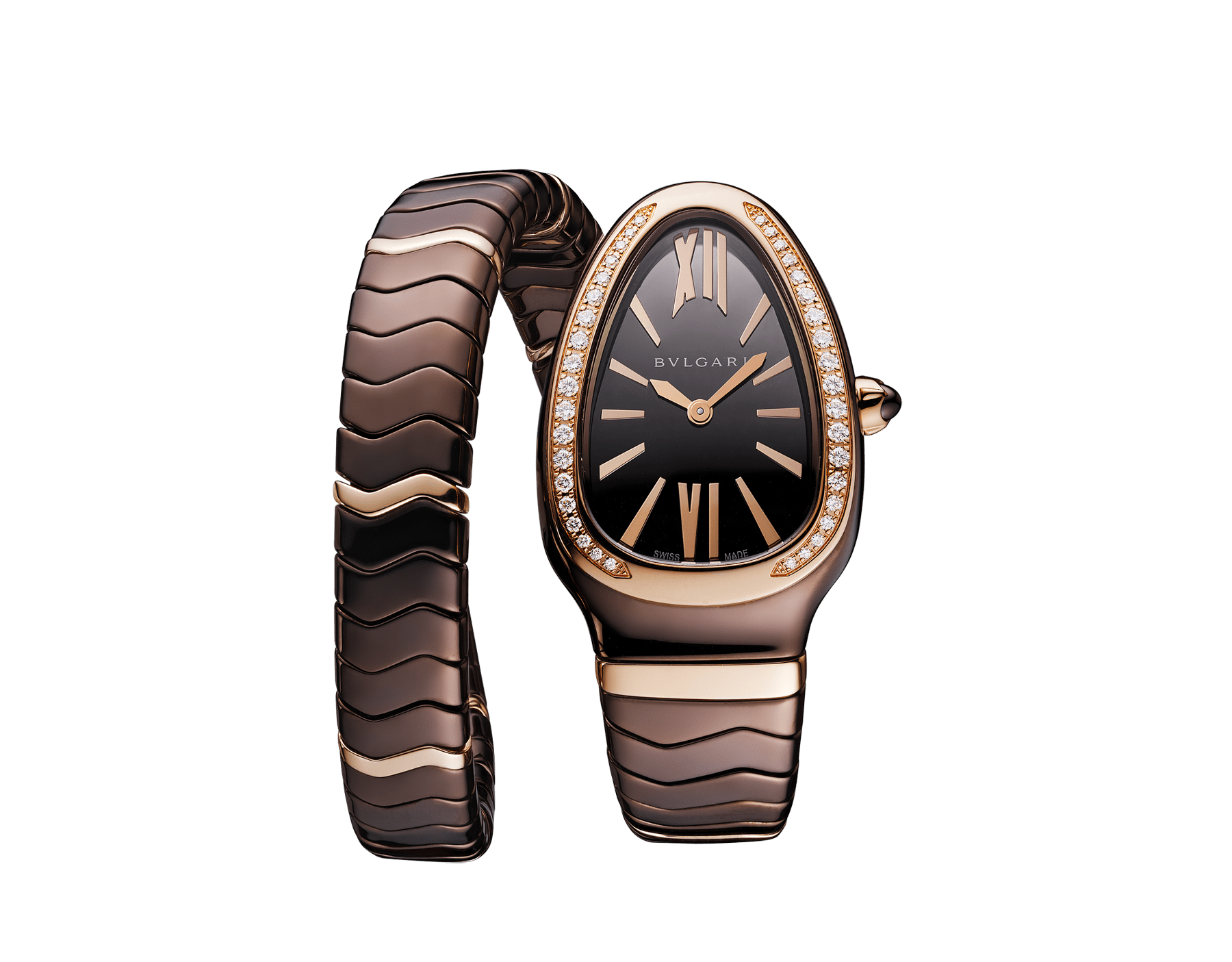 Serpenti Spiga single-spiral watch with treated ceramic case, 18 kt rose gold bezel set with diamonds, brown dial and treated ceramic bracelet with 18 kt rose gold elements 103060 image 1