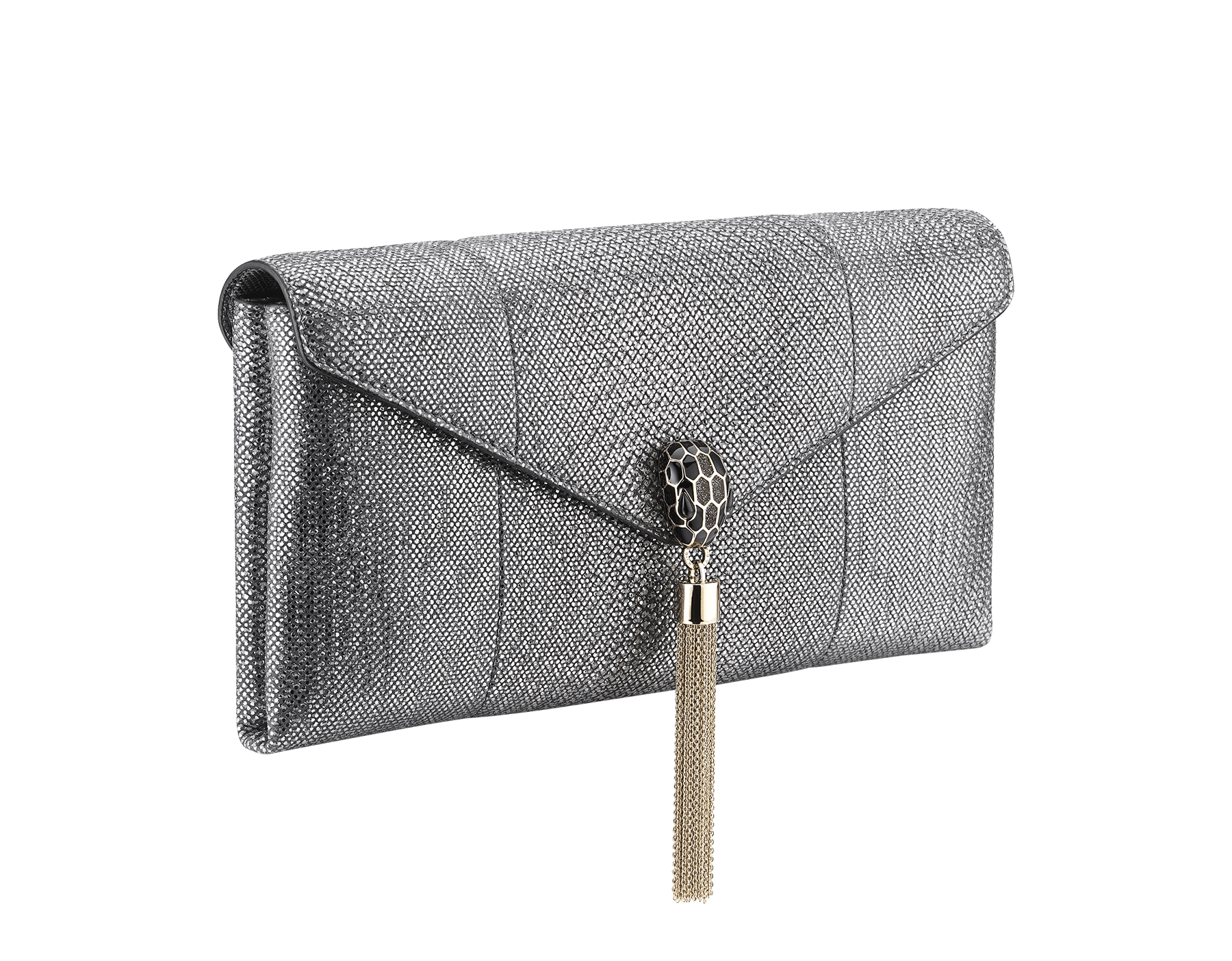 Serpenti evening clutch in charcoal diamond metallic karung skin. Snakehead stud closure with tassel in light gold plated brass decorated with black and glitter charcoal diamond enamel, and black onyx eyes. 288165 image 2