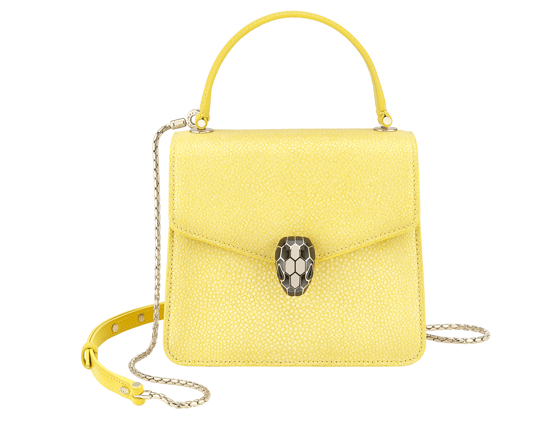 """Serpenti Forever "" crossbody bag in daisy topaz full galuchat skin body and daisy topaz calf leather sides. Iconic snakehead closure in light gold plated brass enriched with black and white enamel and black onyx eyes. 752-FG image 1"