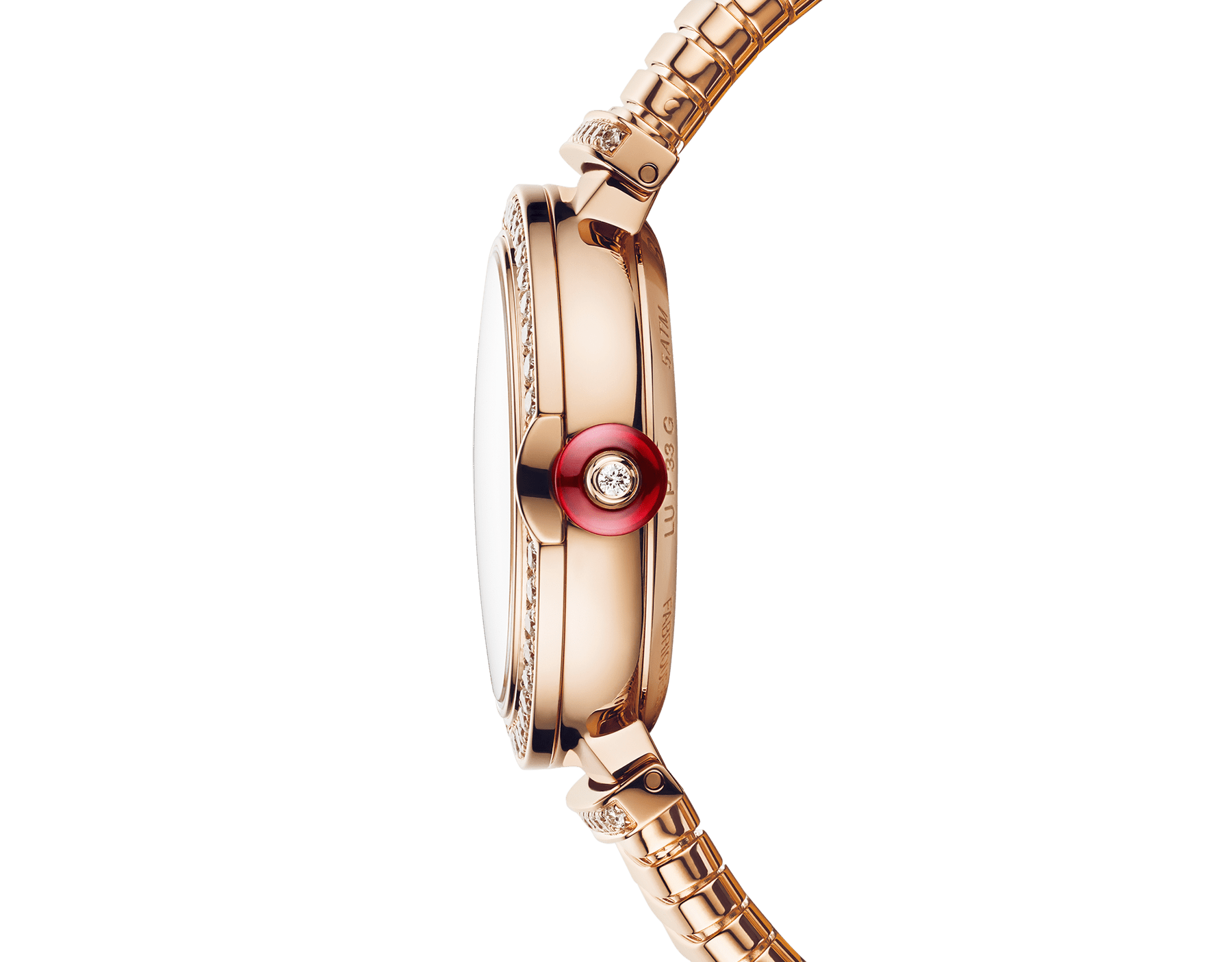LVCEA Skeleton watch with mechanical manufacture movement, automatic winding and skeleton execution, 18 kt rose gold case, 18kt rose gold bezel set with diamonds, 18 kt rose gold openwork BVLGARI logo dial set with round brilliant-cut diamonds, red hands and 18 kt rose gold tubogas bracelet. Exclusive Edition for the United States 103134 image 3