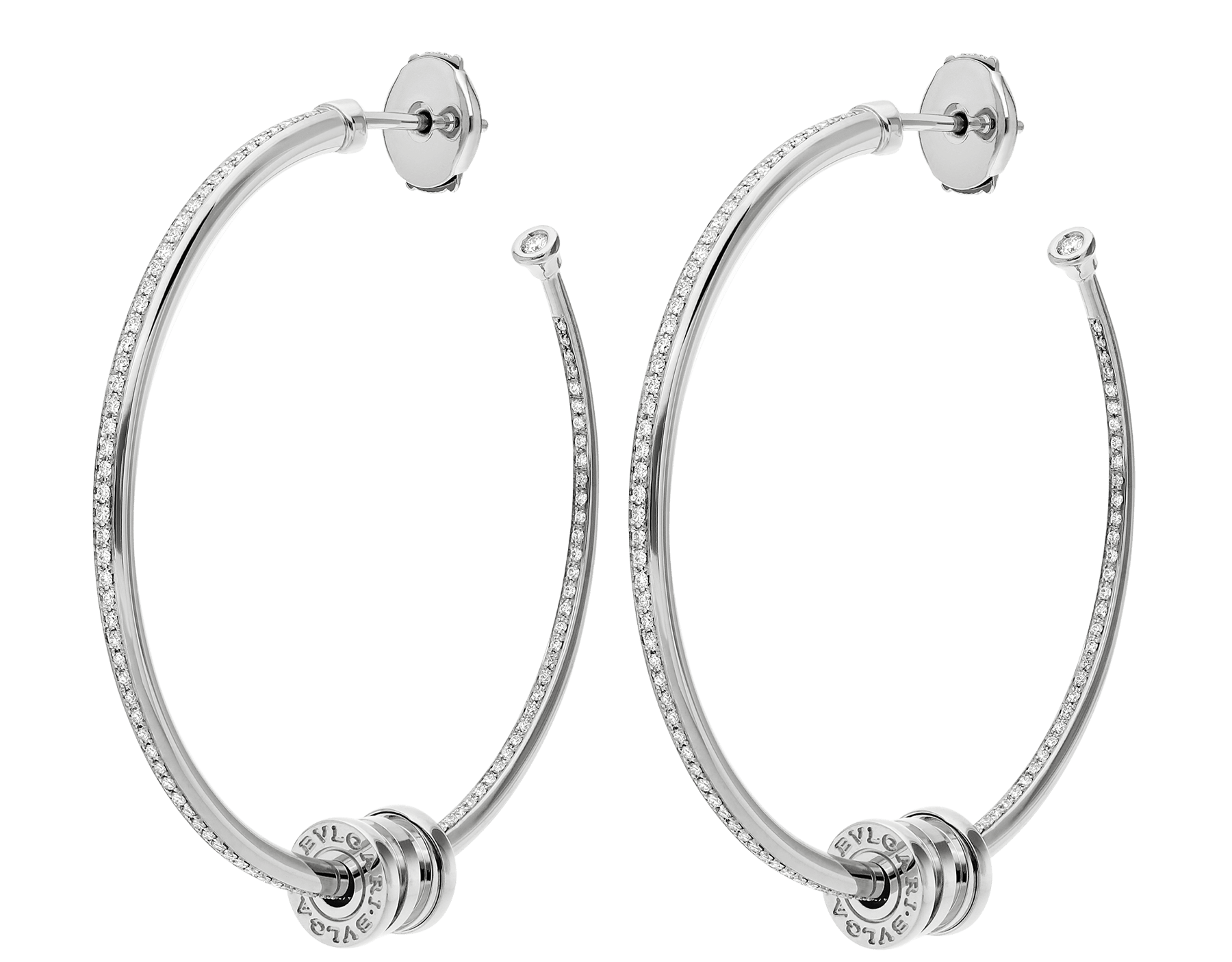 B.zero1 18 kt white gold large hoop earrings set with pavé diamonds on the spiral 357760 image 1