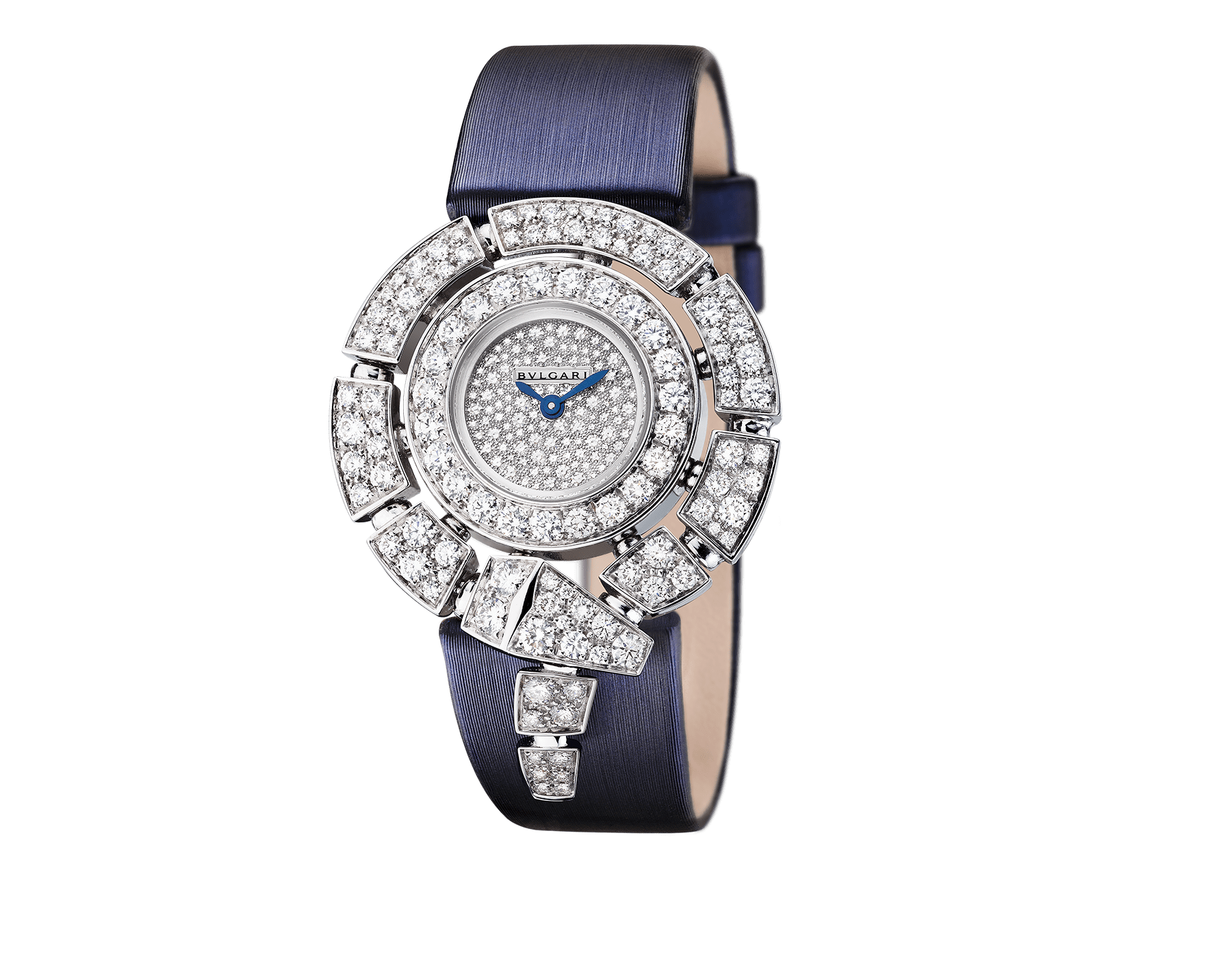 Serpenti Incantati watch with 18kt white gold case set with brilliant cut diamonds, snow-pavé diamond dial and blue satin bracelet. 102538 image 1