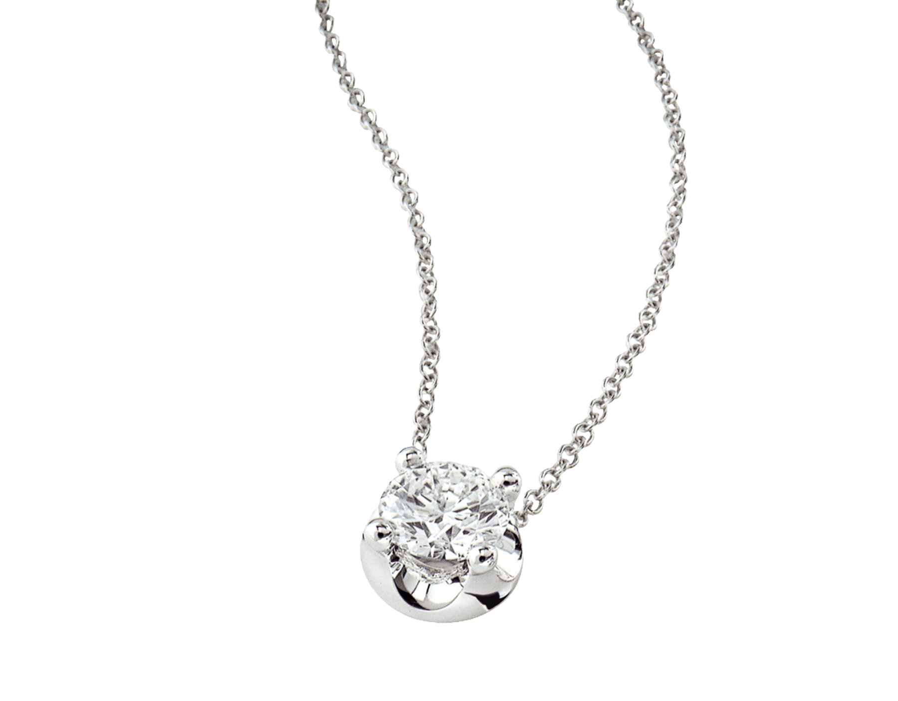 Corona necklace with 18 kt white gold chain and 18 kt white gold pendant set with a round brilliant cut diamond CL-CORONA image 4