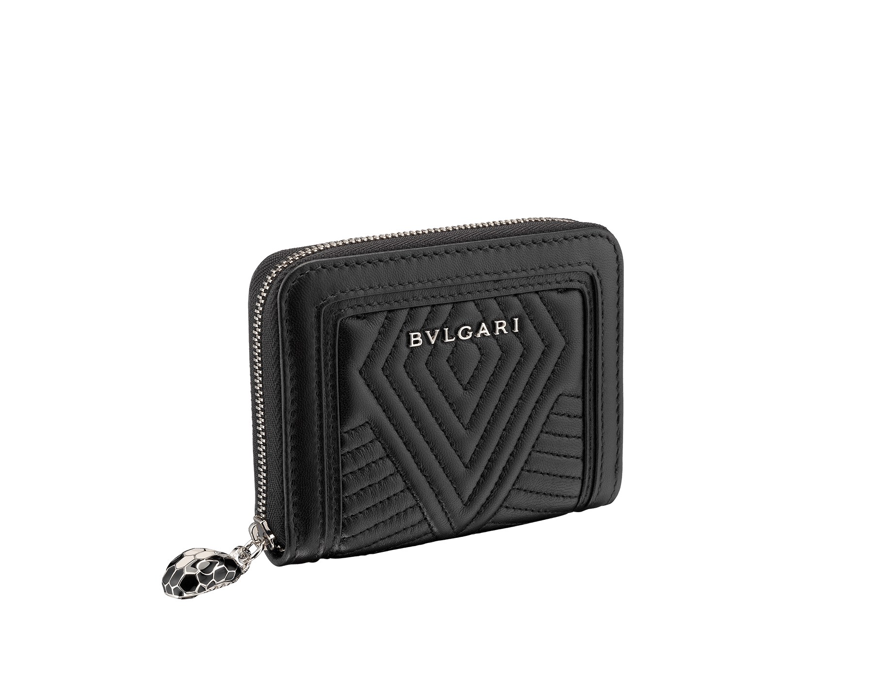 Serpenti Diamond Blast mini zipped wallet in black quilted nappa leather. Iconic snakehead zip puller in black and white enamel, with black enamel eyes. 287584 image 1