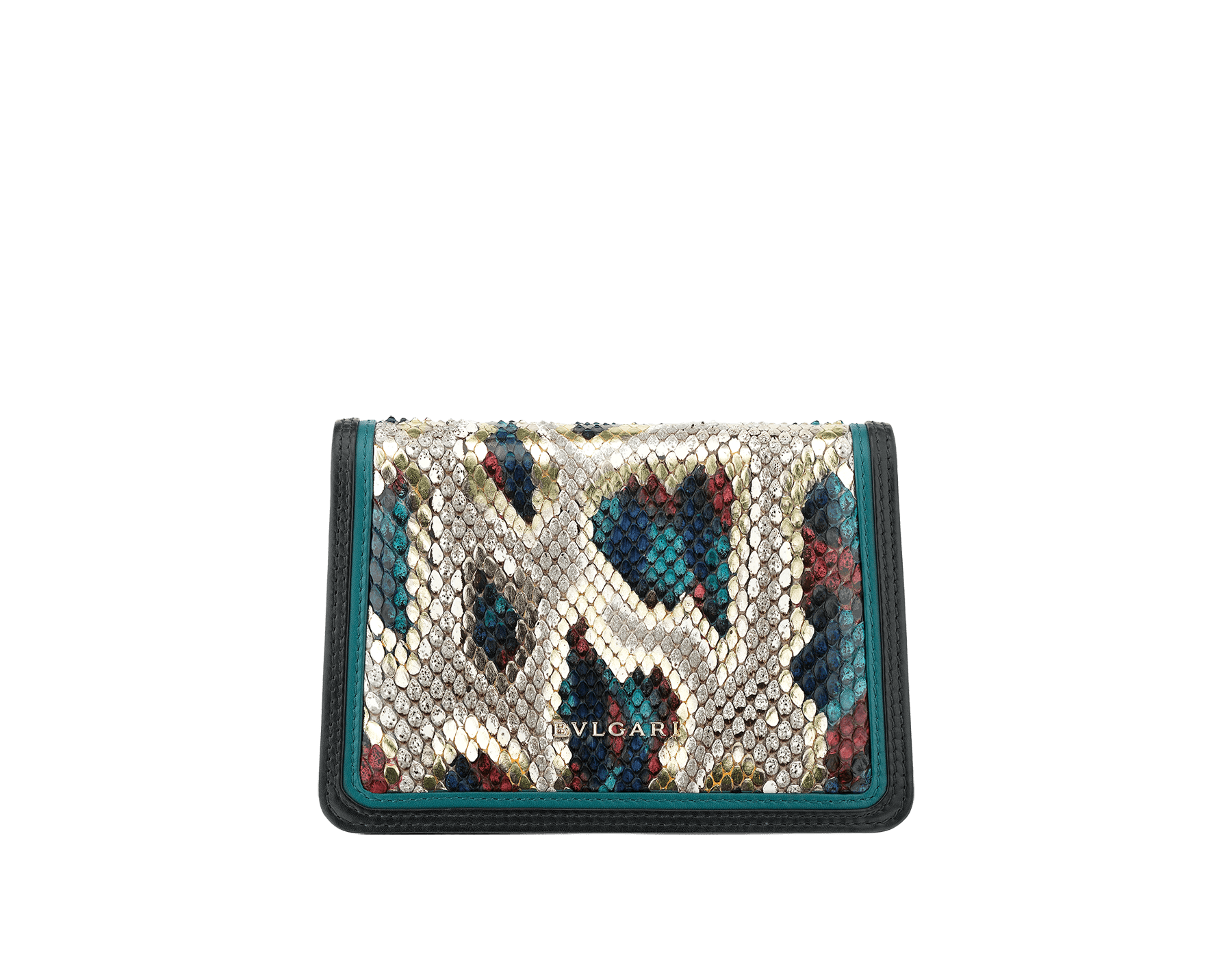 """Serpenti Diamond Blast"" crossbody micro bag in white agate Lunar python skin body and deep jade and black calf leather frames. Iconic snakehead closure in light gold plated brass enriched with deep jade and black enamel and black onyx eyes. 288266 image 3"